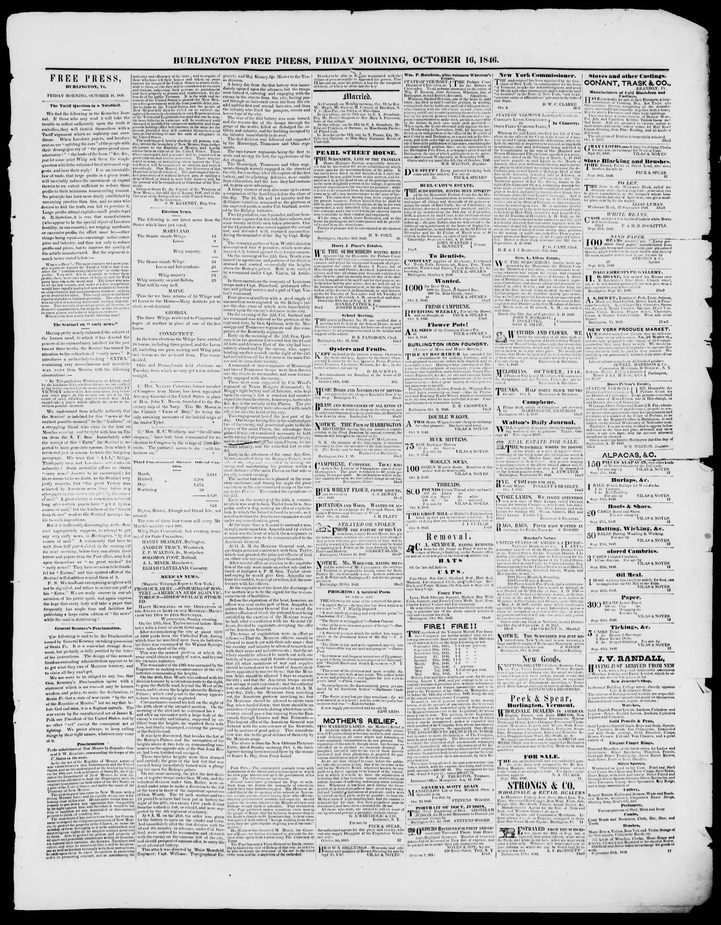 Newspaper of Burlington Free Press dated October 16, 1846 Page 3