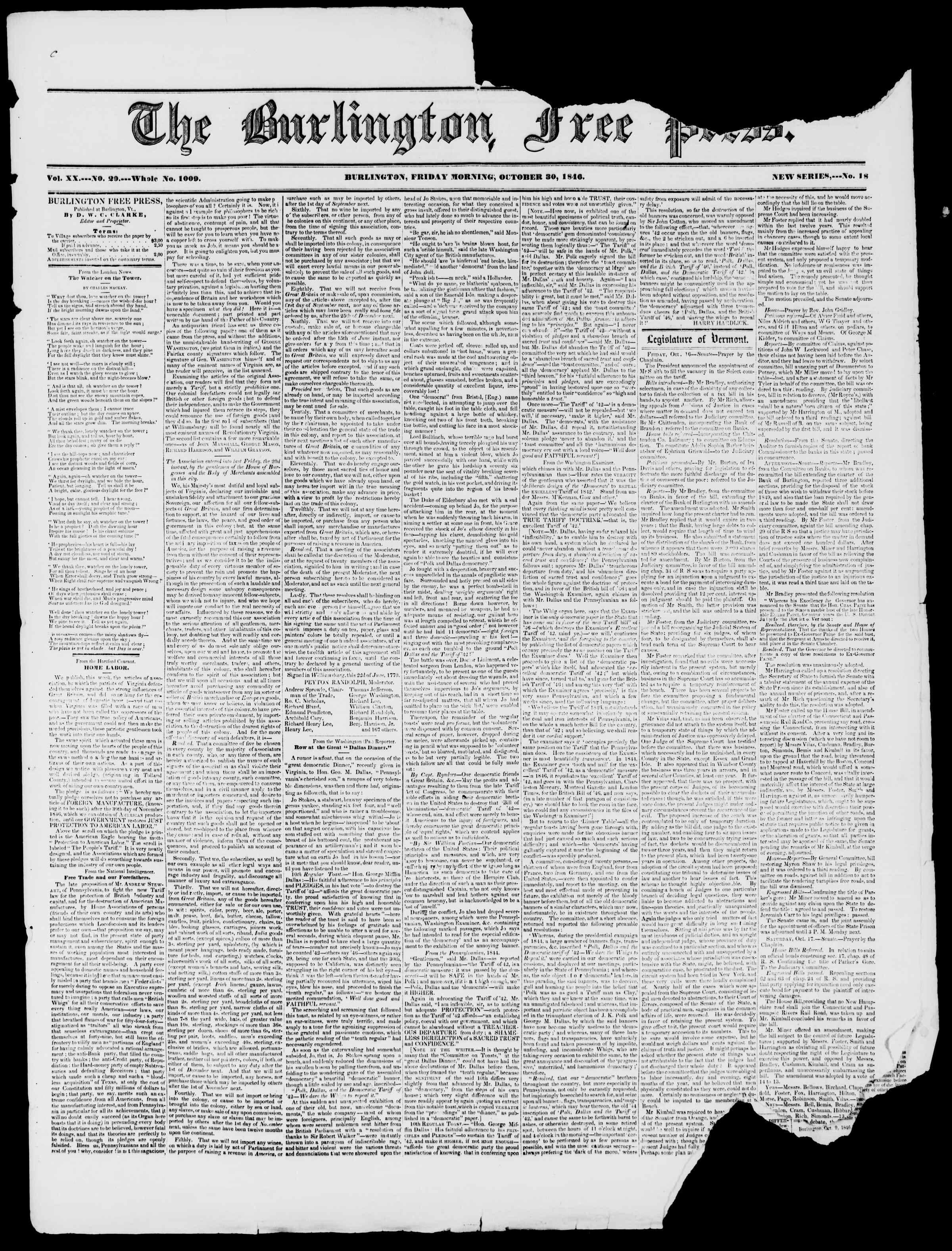 Newspaper of Burlington Free Press dated October 30, 1846 Page 1