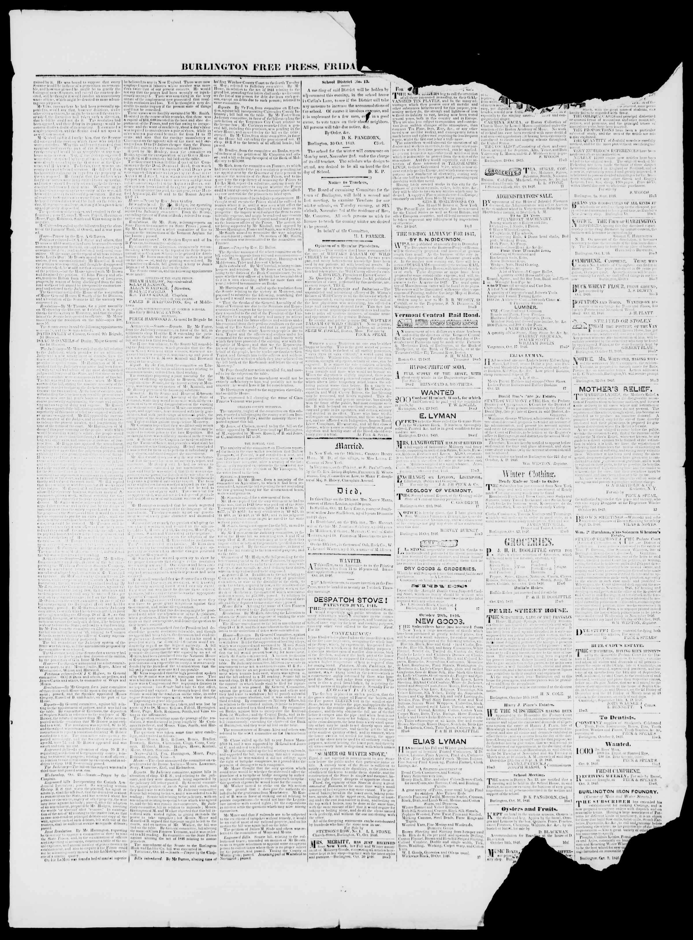 Newspaper of Burlington Free Press dated October 30, 1846 Page 3