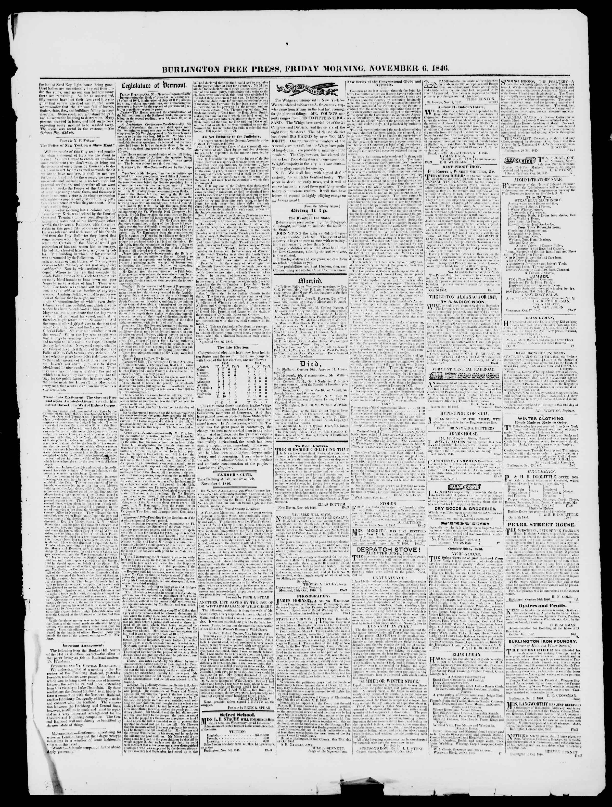 Newspaper of Burlington Free Press dated November 6, 1846 Page 3