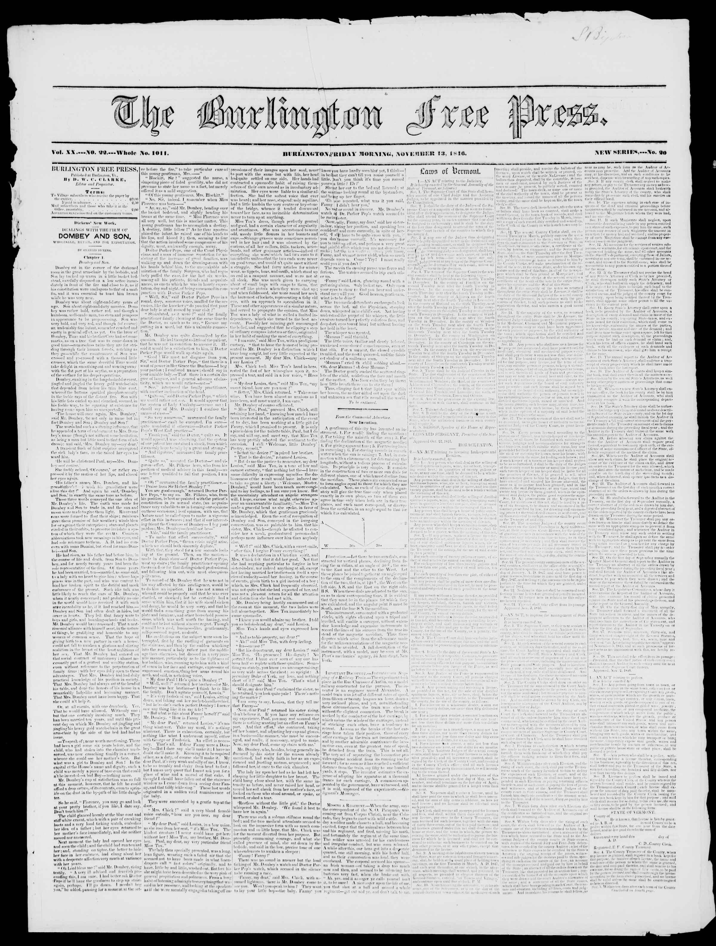 Newspaper of Burlington Free Press dated November 13, 1846 Page 1