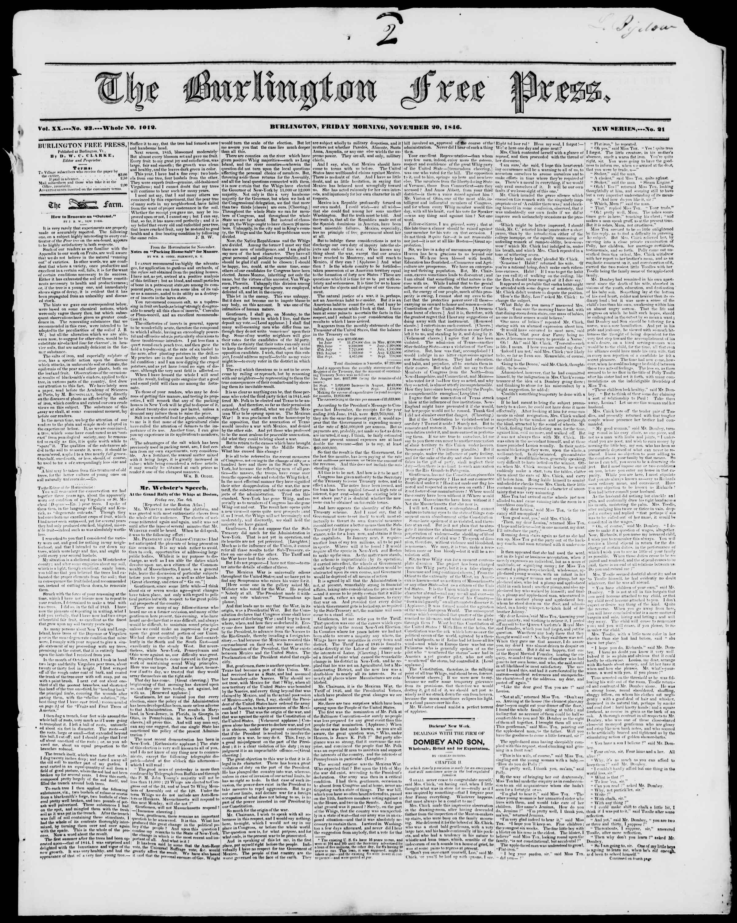 Newspaper of Burlington Free Press dated November 20, 1846 Page 1