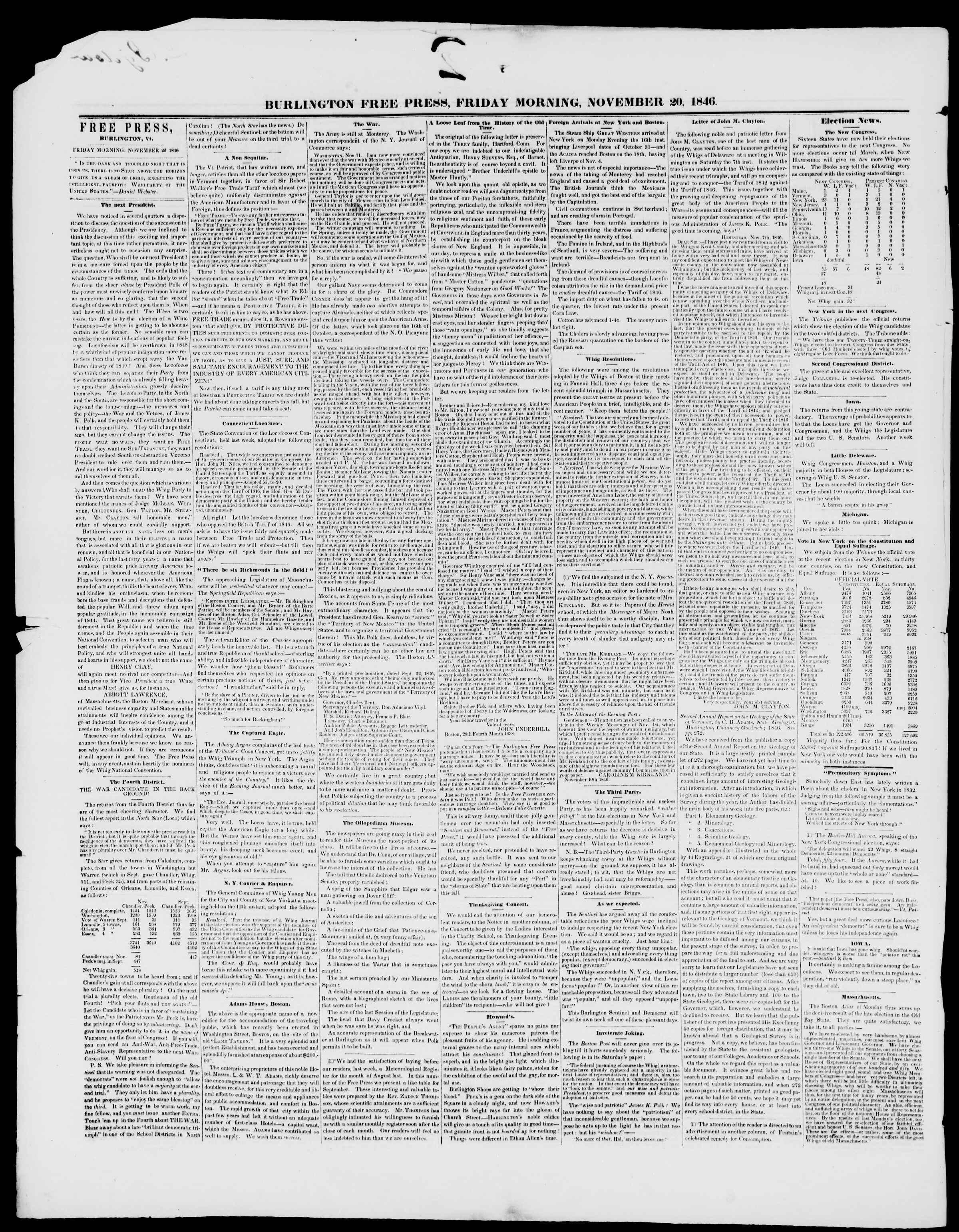Newspaper of Burlington Free Press dated November 20, 1846 Page 2