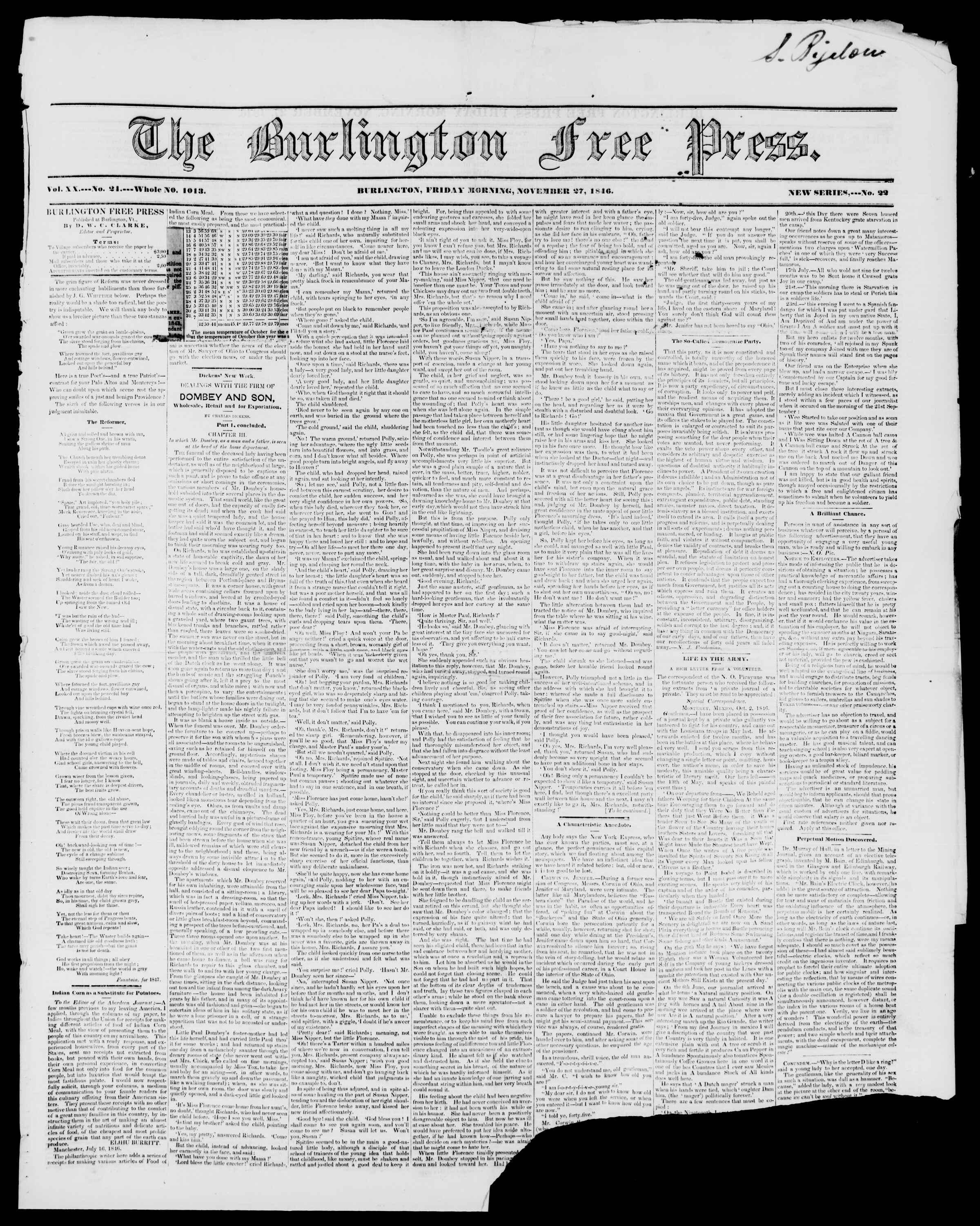 27 Kasım 1846 tarihli Burlington Free Press Gazetesi Sayfa 1