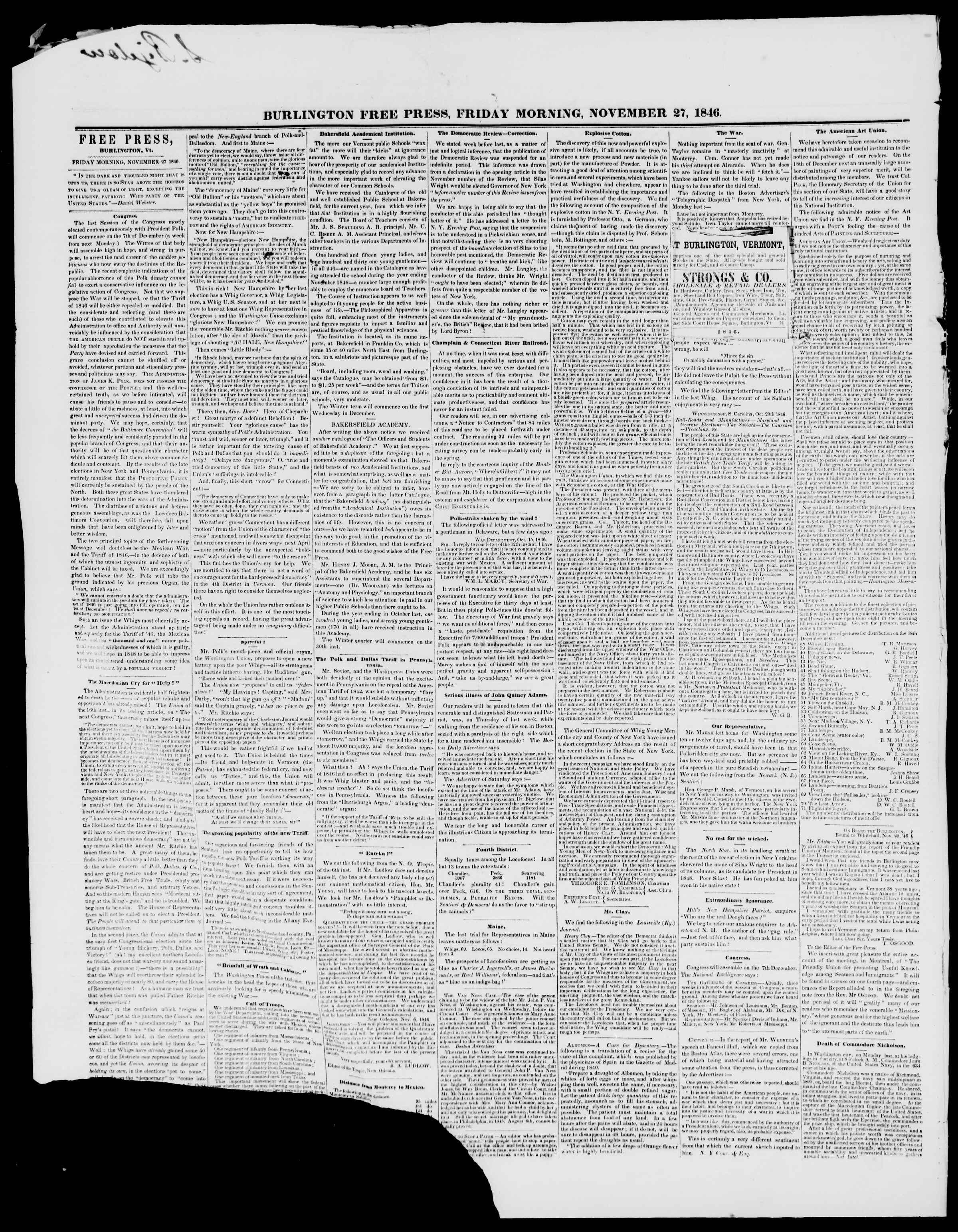 Newspaper of Burlington Free Press dated November 27, 1846 Page 2
