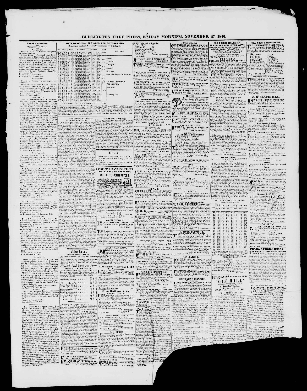 Newspaper of Burlington Free Press dated November 27, 1846 Page 3