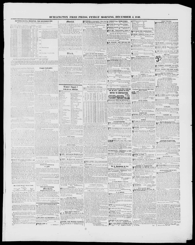 Newspaper of Burlington Free Press dated December 4, 1846 Page 3