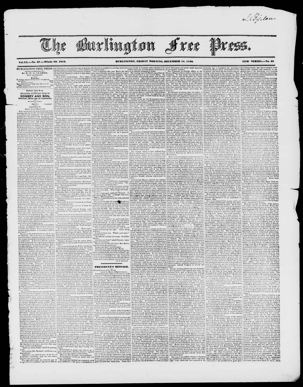 Newspaper of Burlington Free Press dated December 18, 1846 Page 1