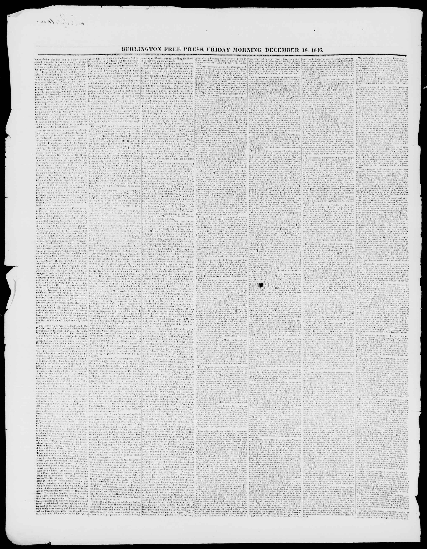 Newspaper of Burlington Free Press dated December 18, 1846 Page 2
