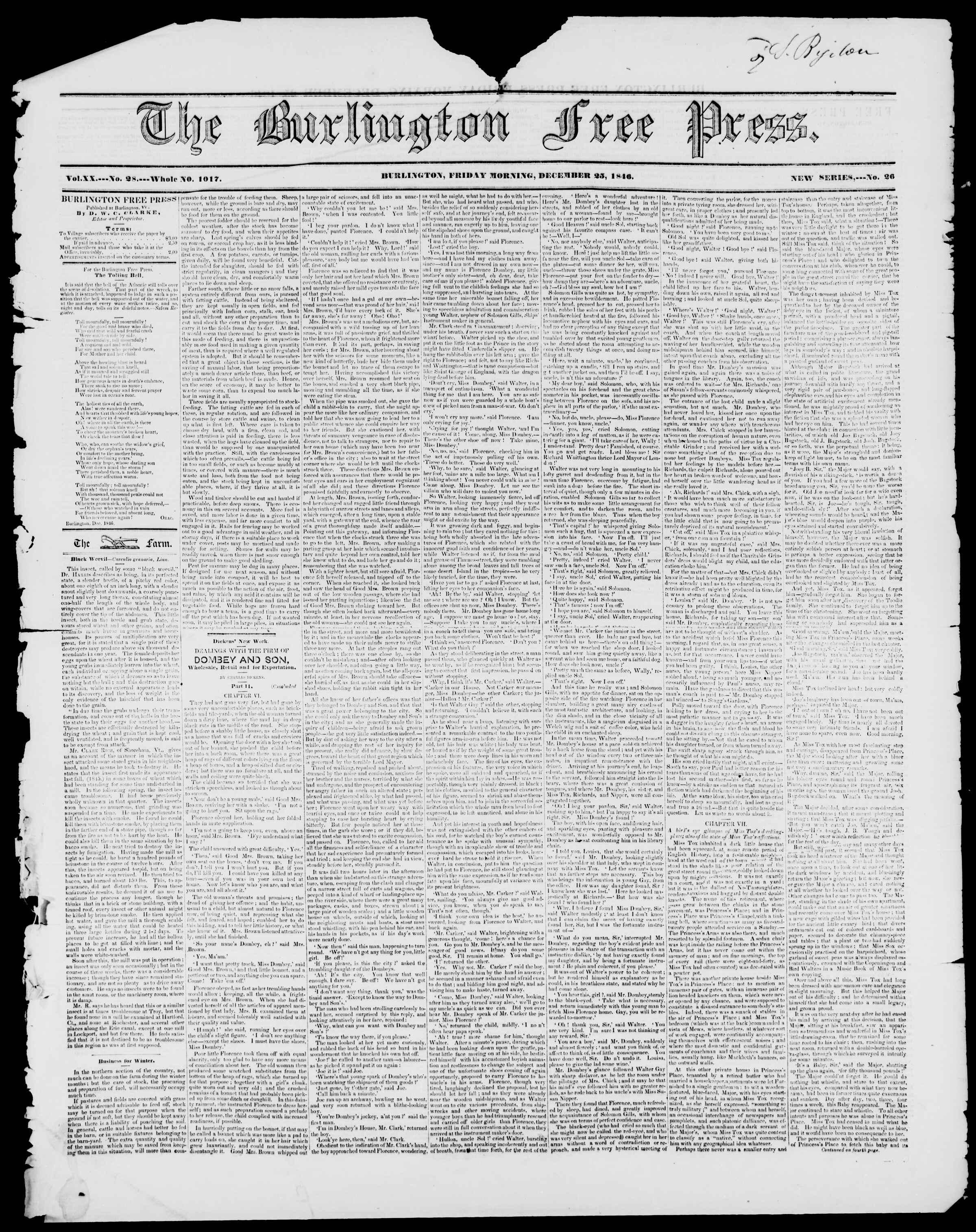 Newspaper of Burlington Free Press dated December 25, 1846 Page 1