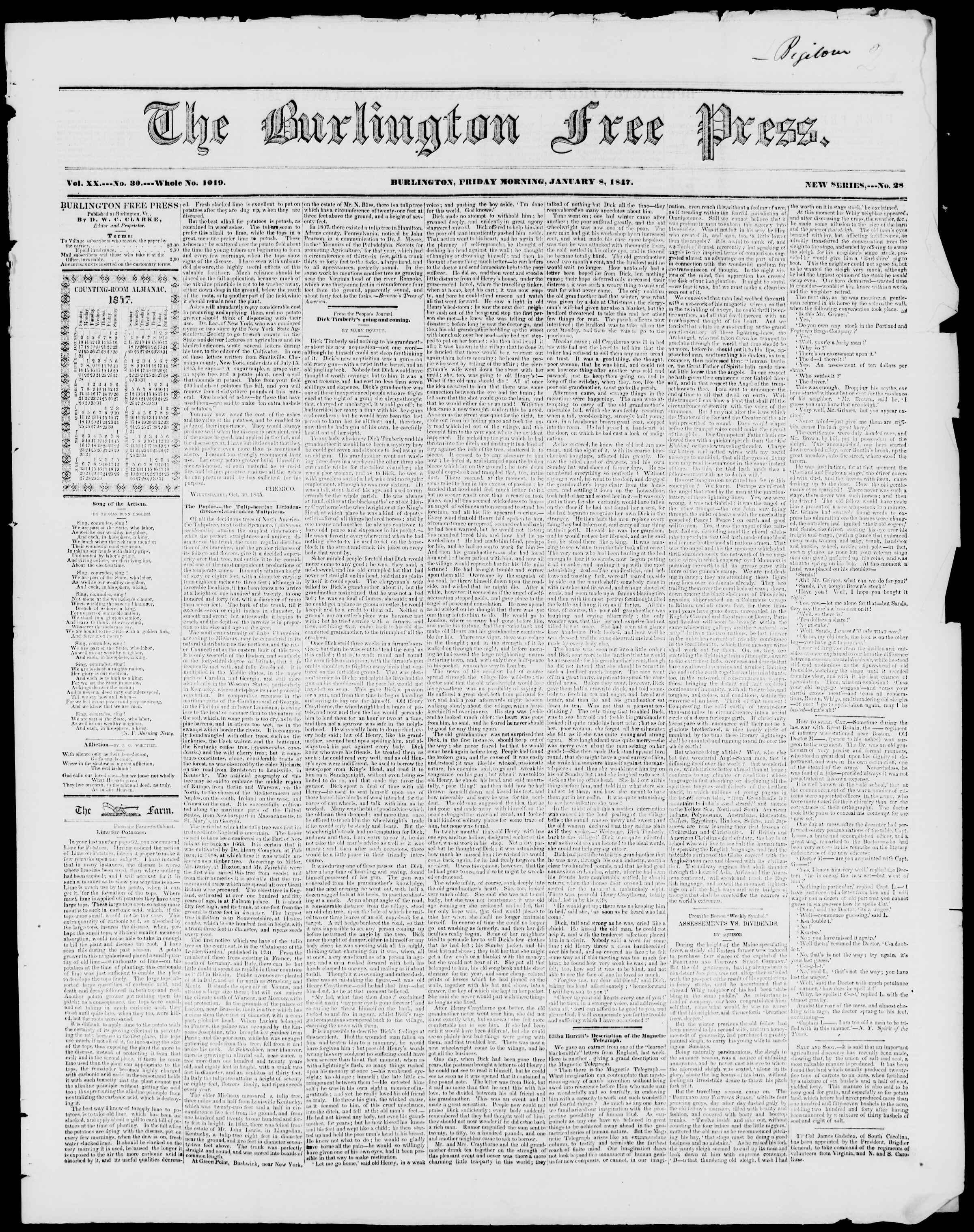 Newspaper of Burlington Free Press dated January 8, 1847 Page 1
