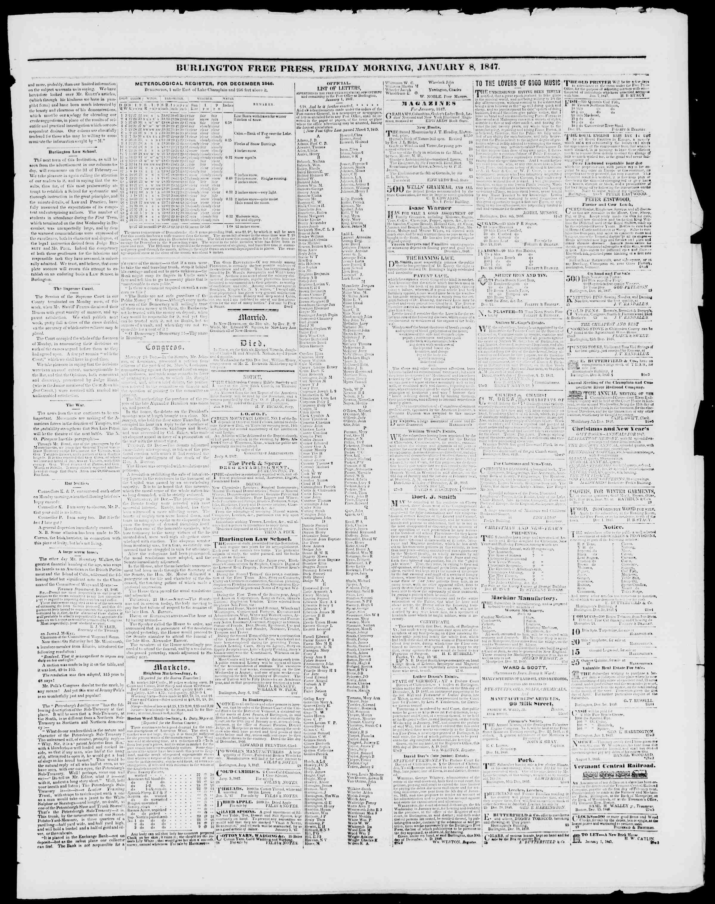 Newspaper of Burlington Free Press dated January 8, 1847 Page 3