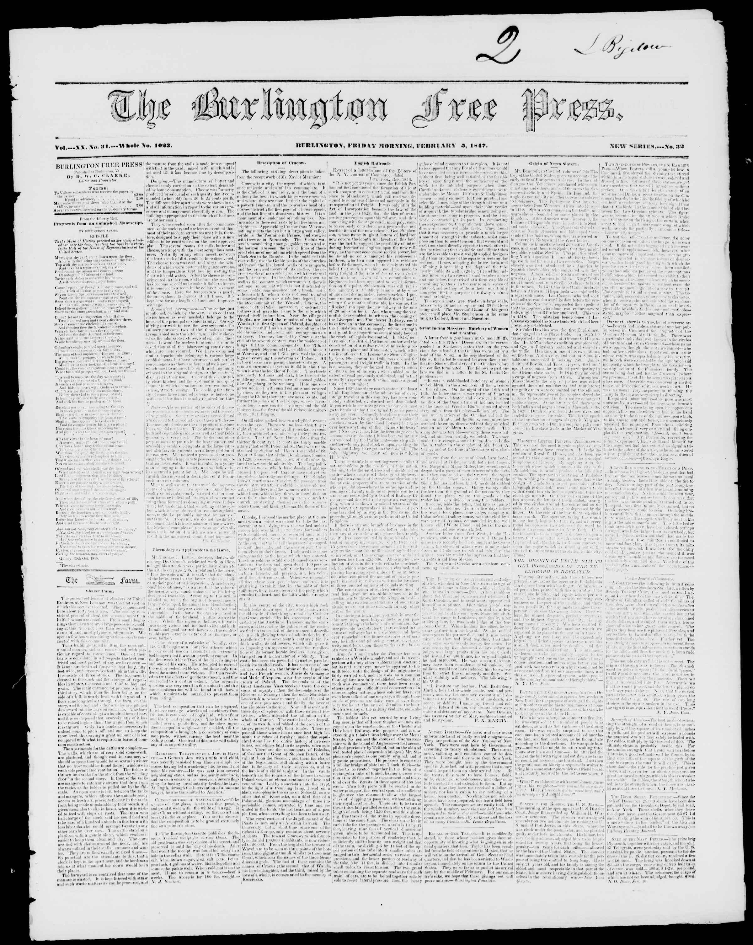 Newspaper of Burlington Free Press dated February 5, 1847 Page 1