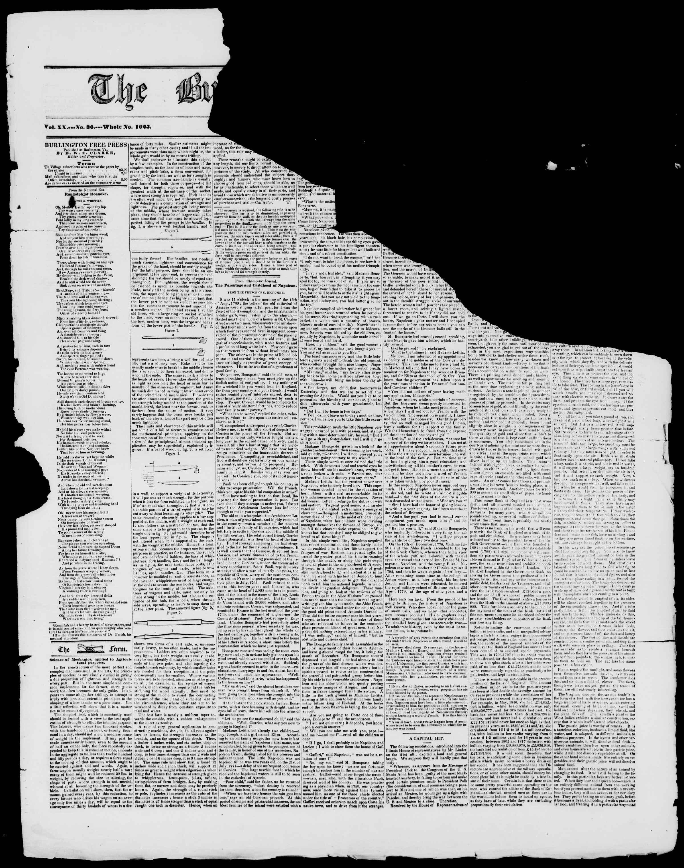Newspaper of Burlington Free Press dated 19 Şubat 1847 Page 1