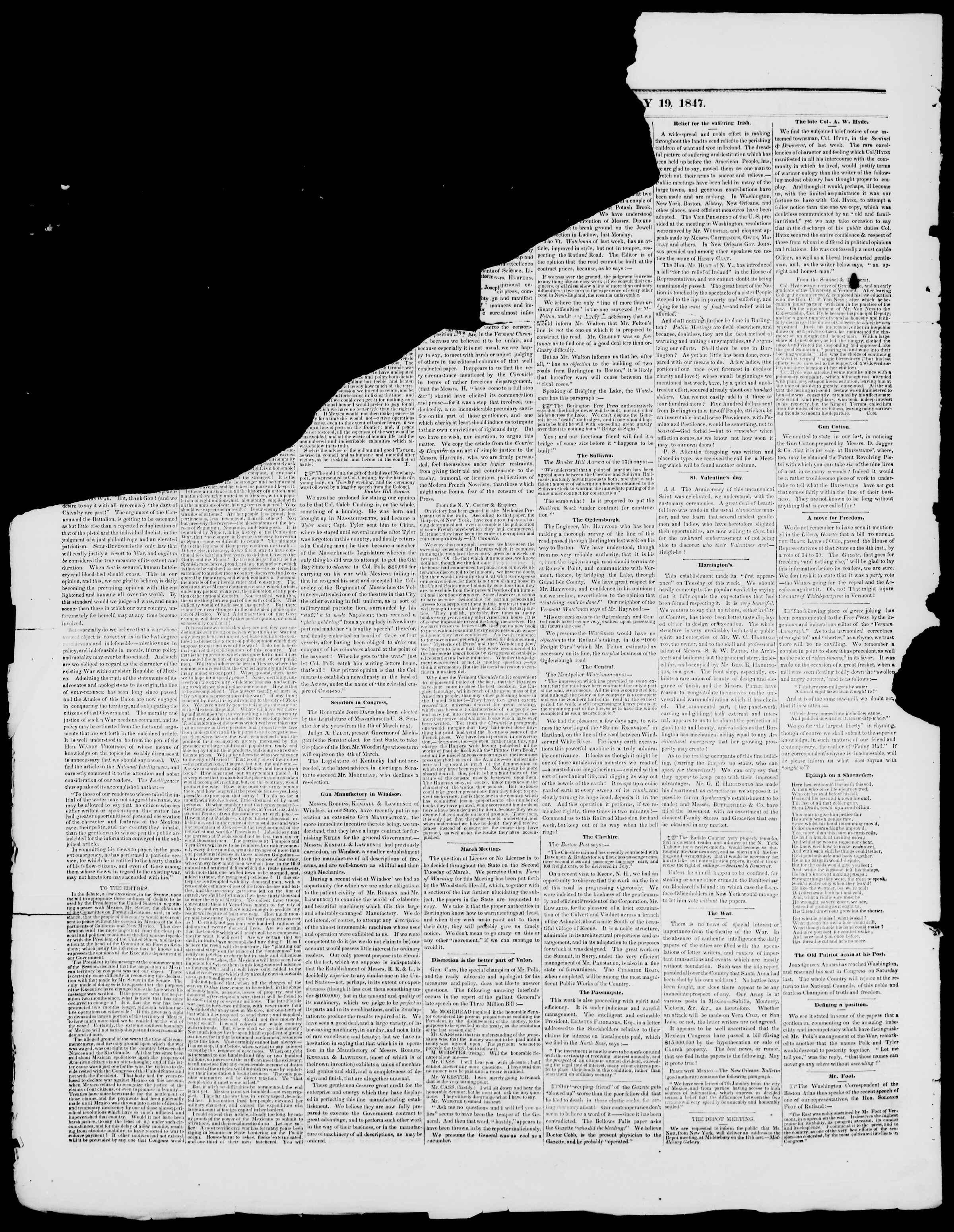 Newspaper of Burlington Free Press dated February 19, 1847 Page 2