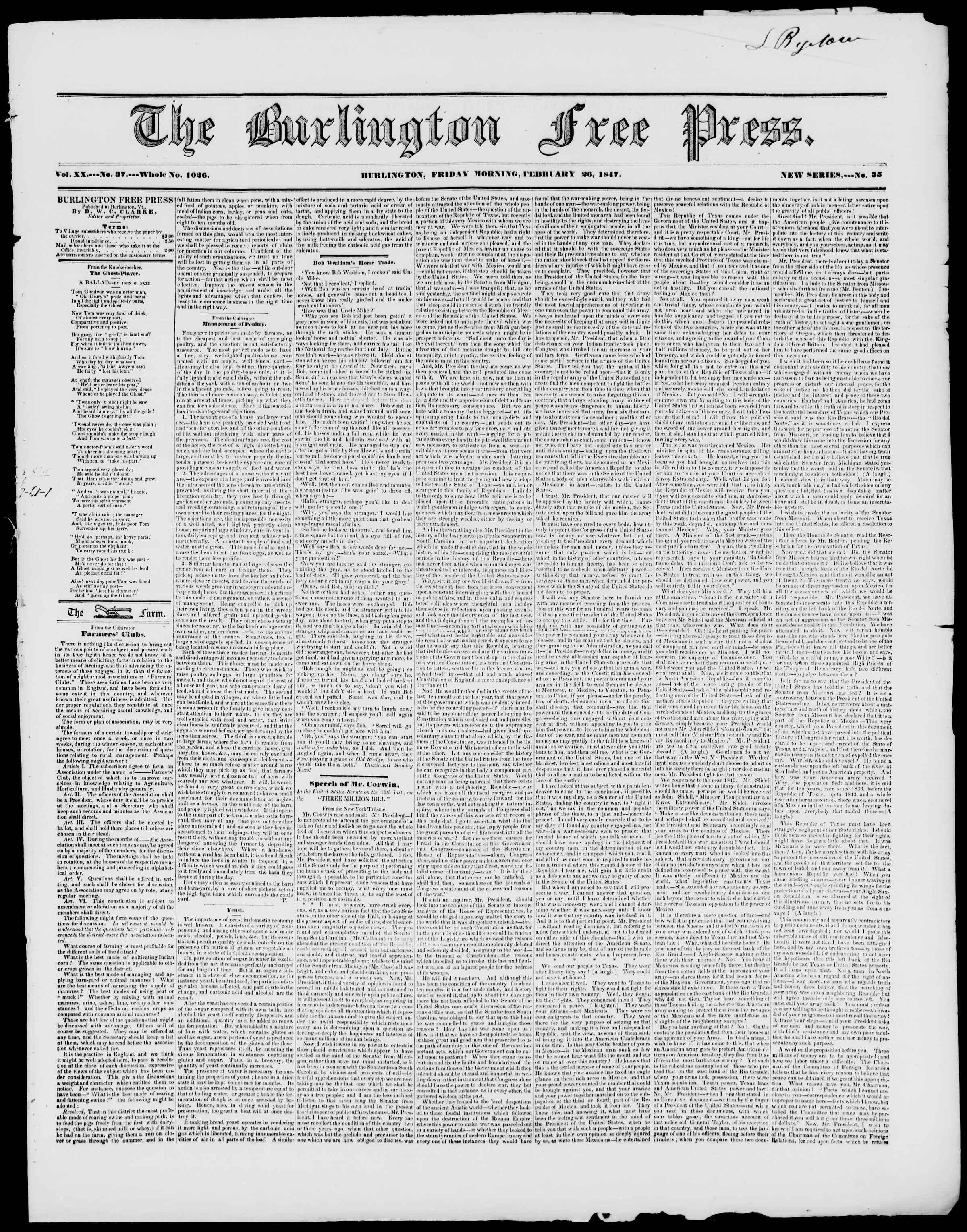 Newspaper of Burlington Free Press dated February 26, 1847 Page 1