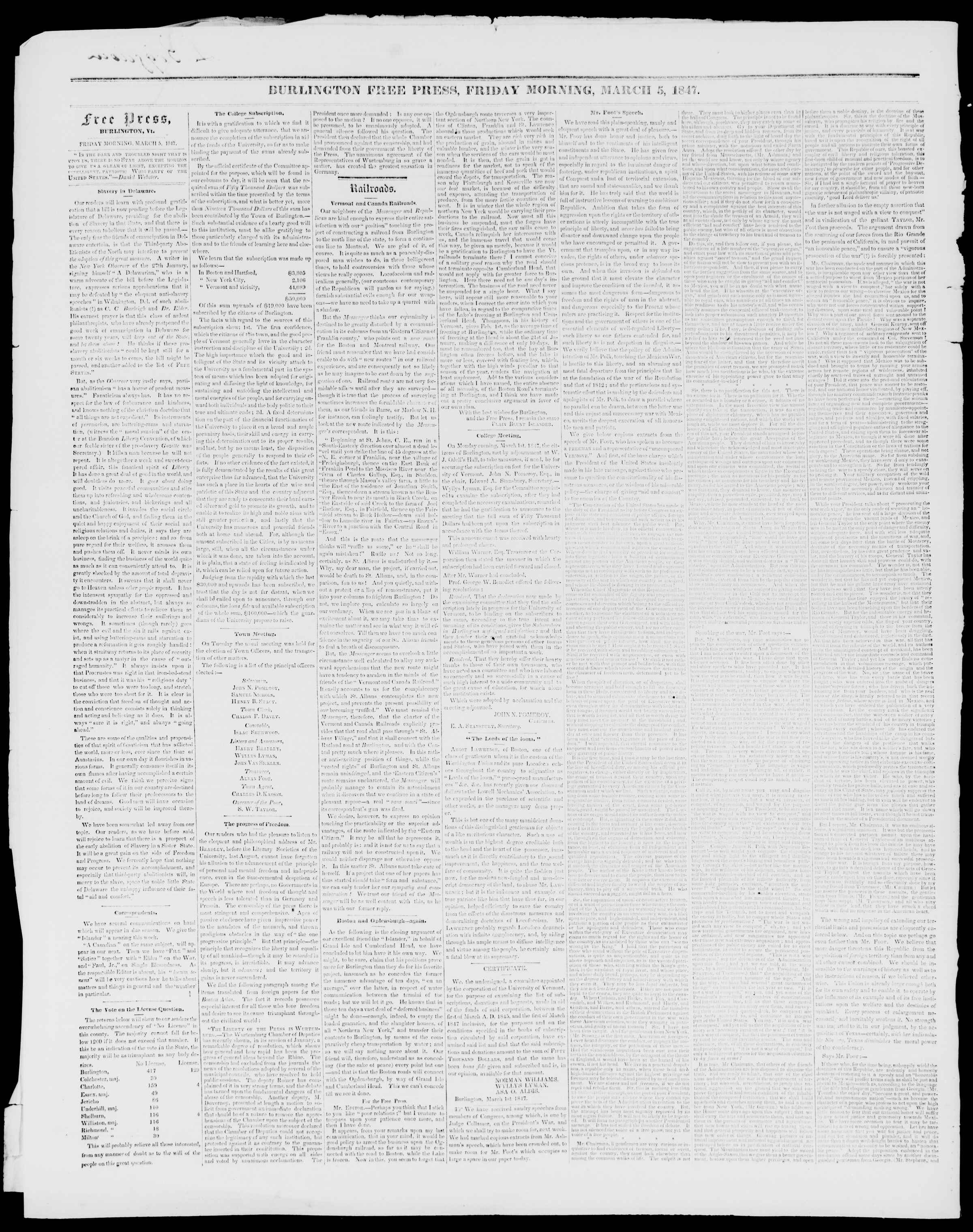 Newspaper of Burlington Free Press dated March 5, 1847 Page 2