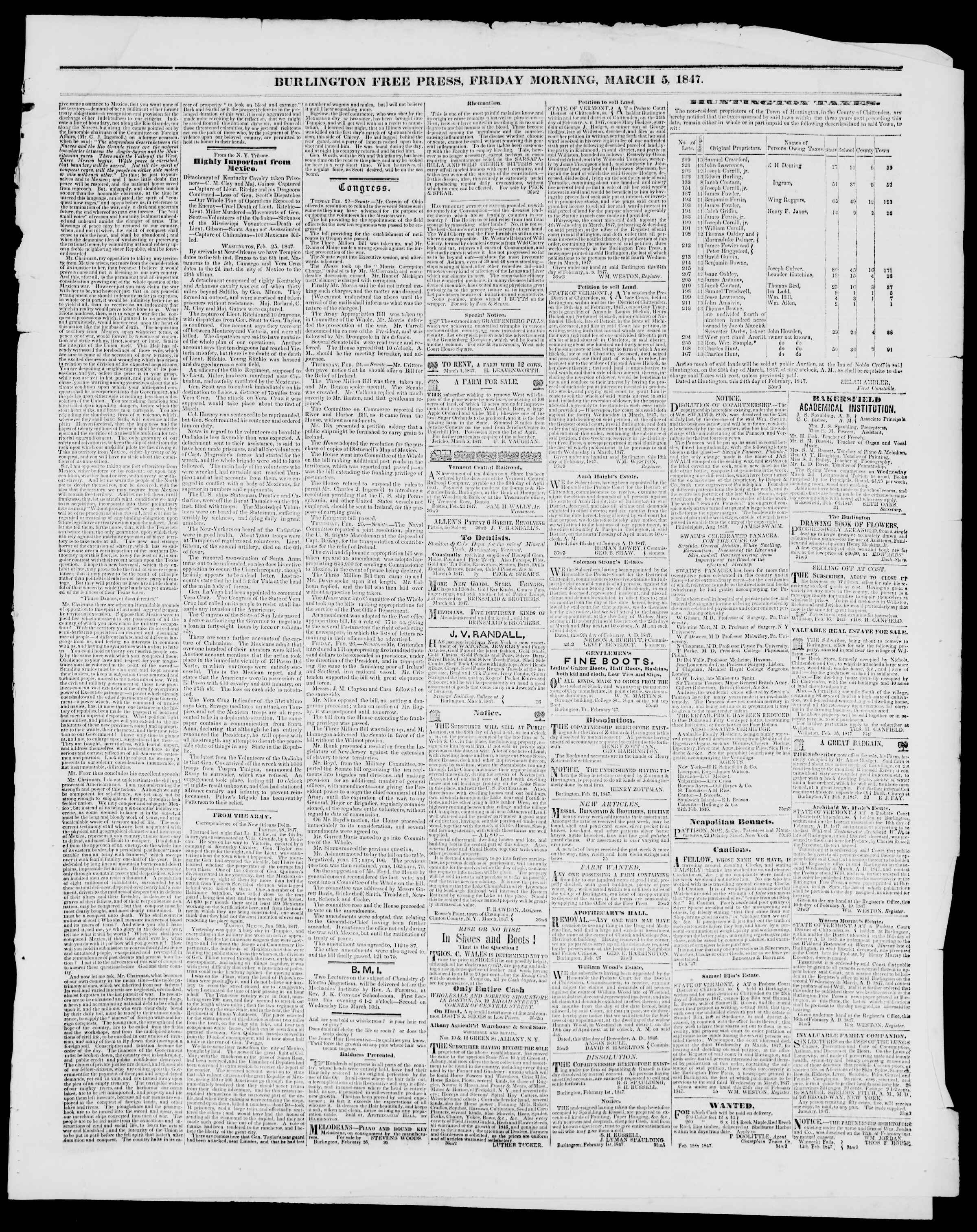 Newspaper of Burlington Free Press dated March 5, 1847 Page 3