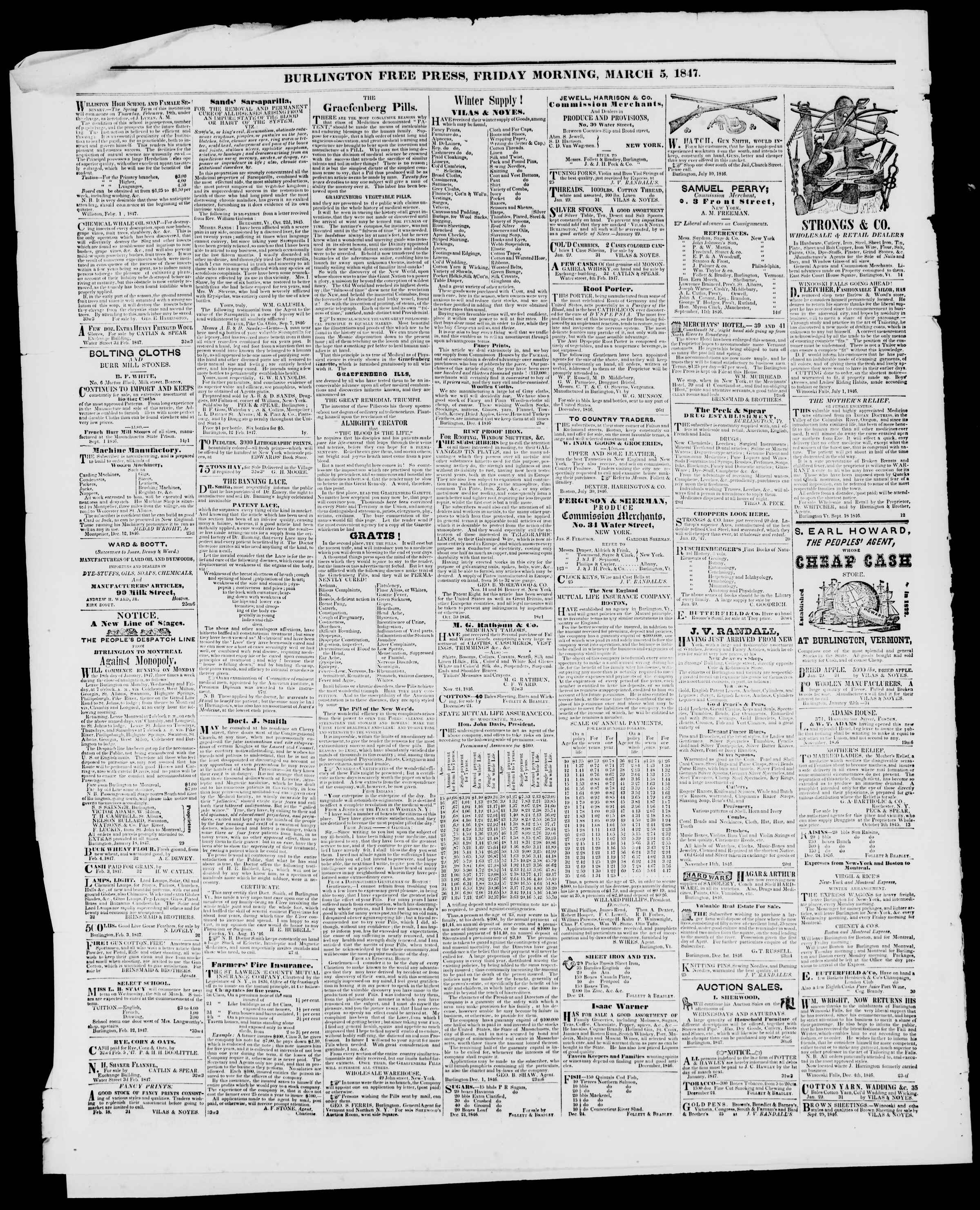 Newspaper of Burlington Free Press dated March 5, 1847 Page 4