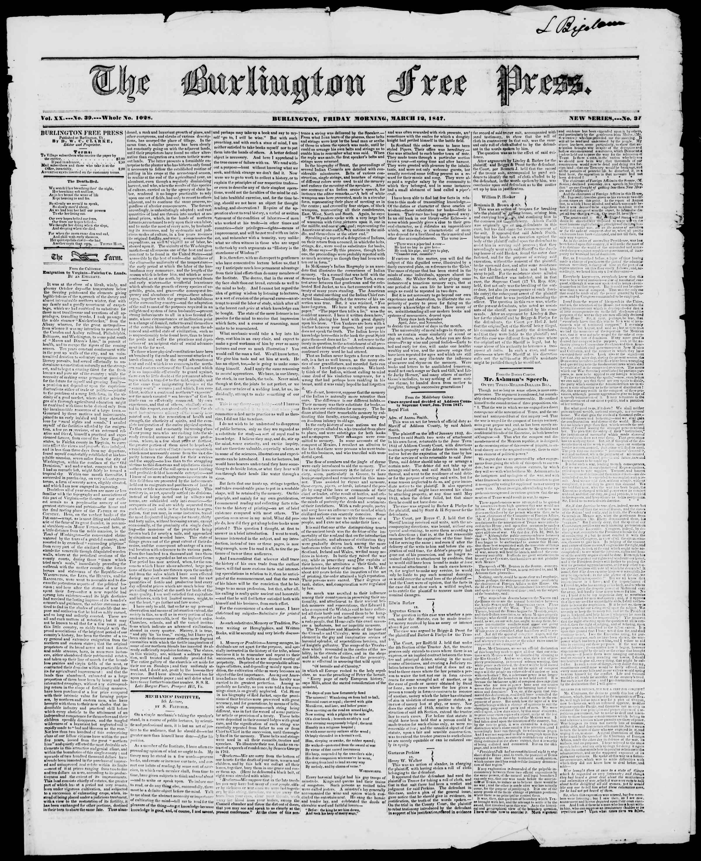 Newspaper of Burlington Free Press dated March 12, 1847 Page 1