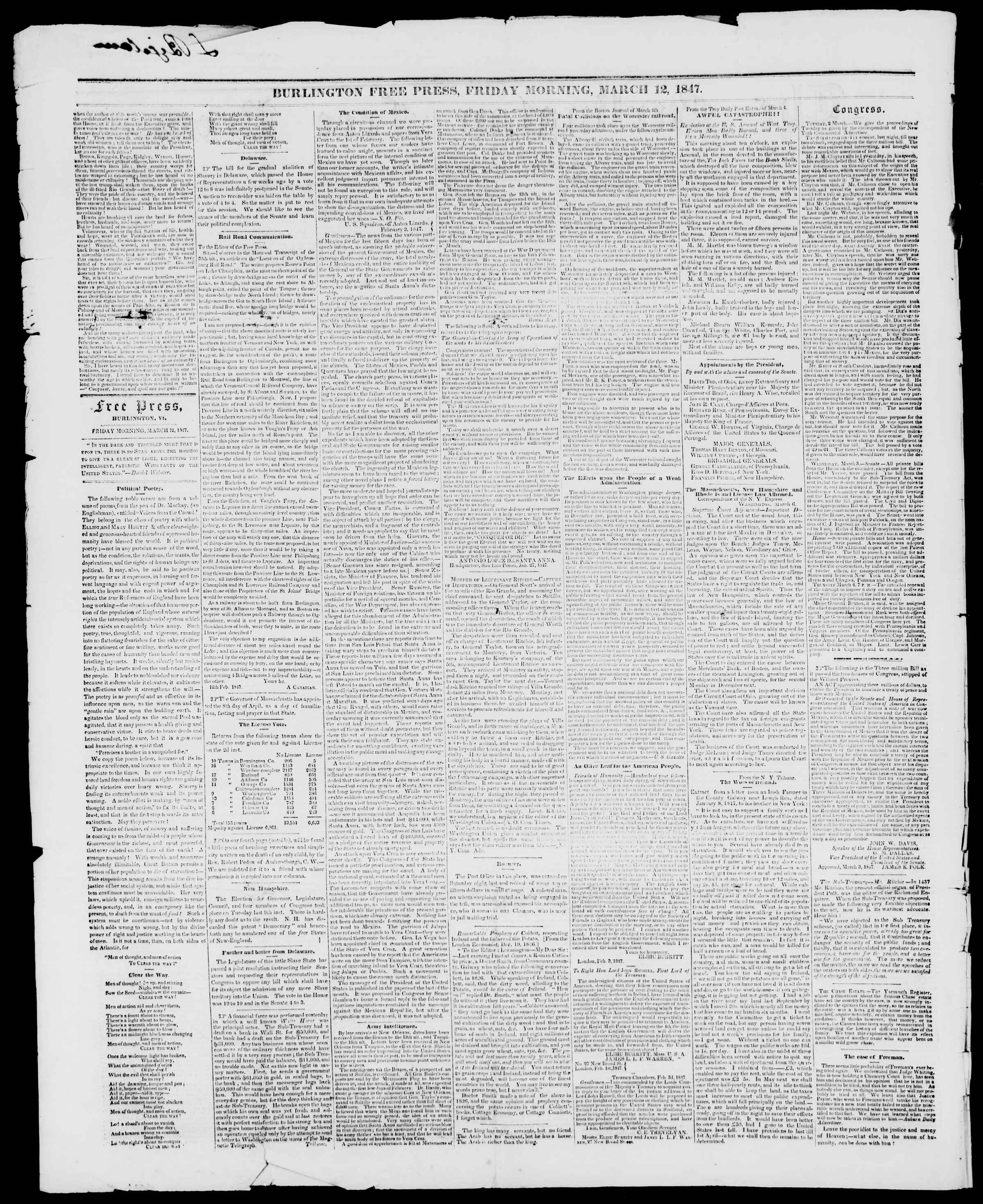 Newspaper of Burlington Free Press dated March 12, 1847 Page 2