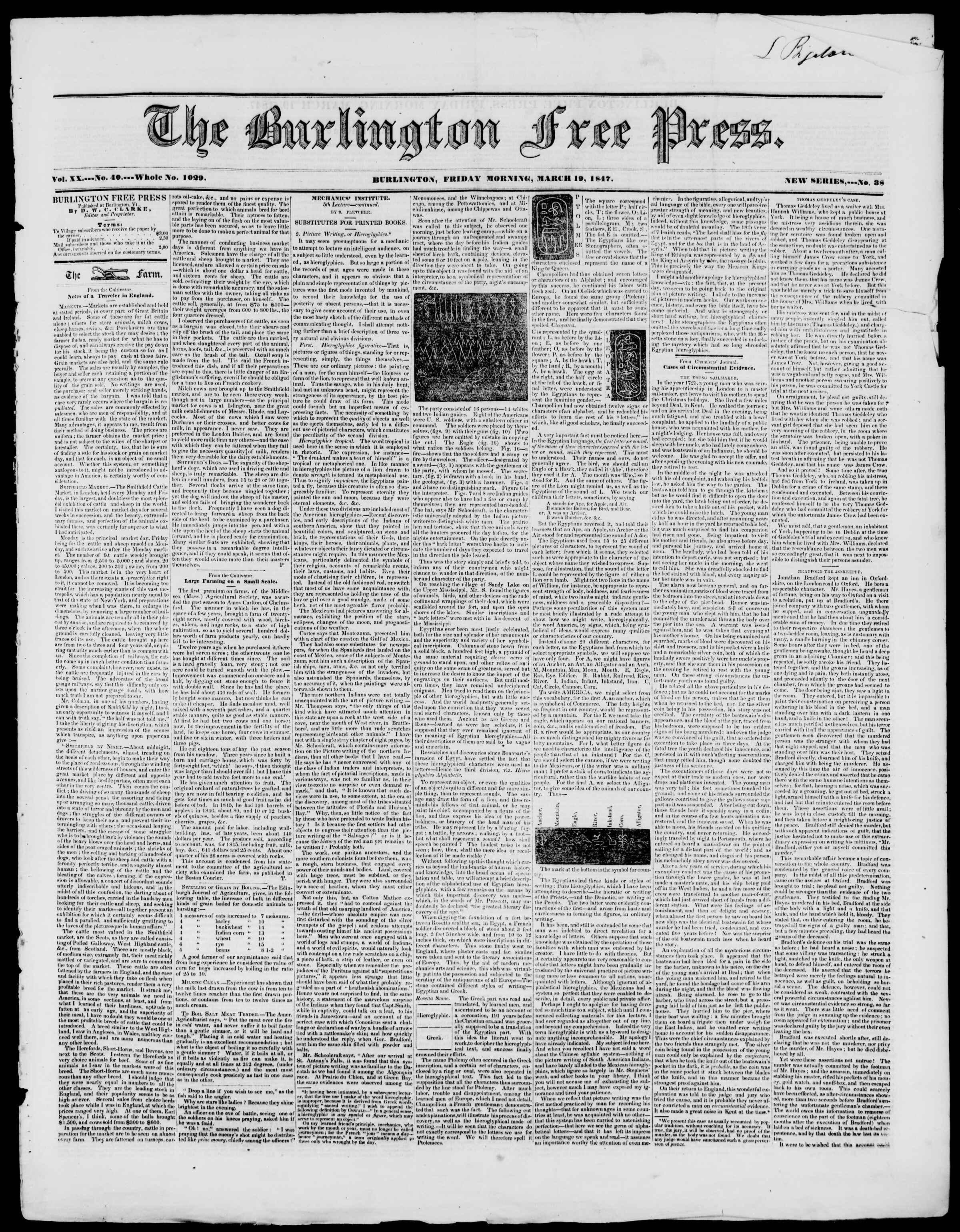 Newspaper of Burlington Free Press dated March 19, 1847 Page 1