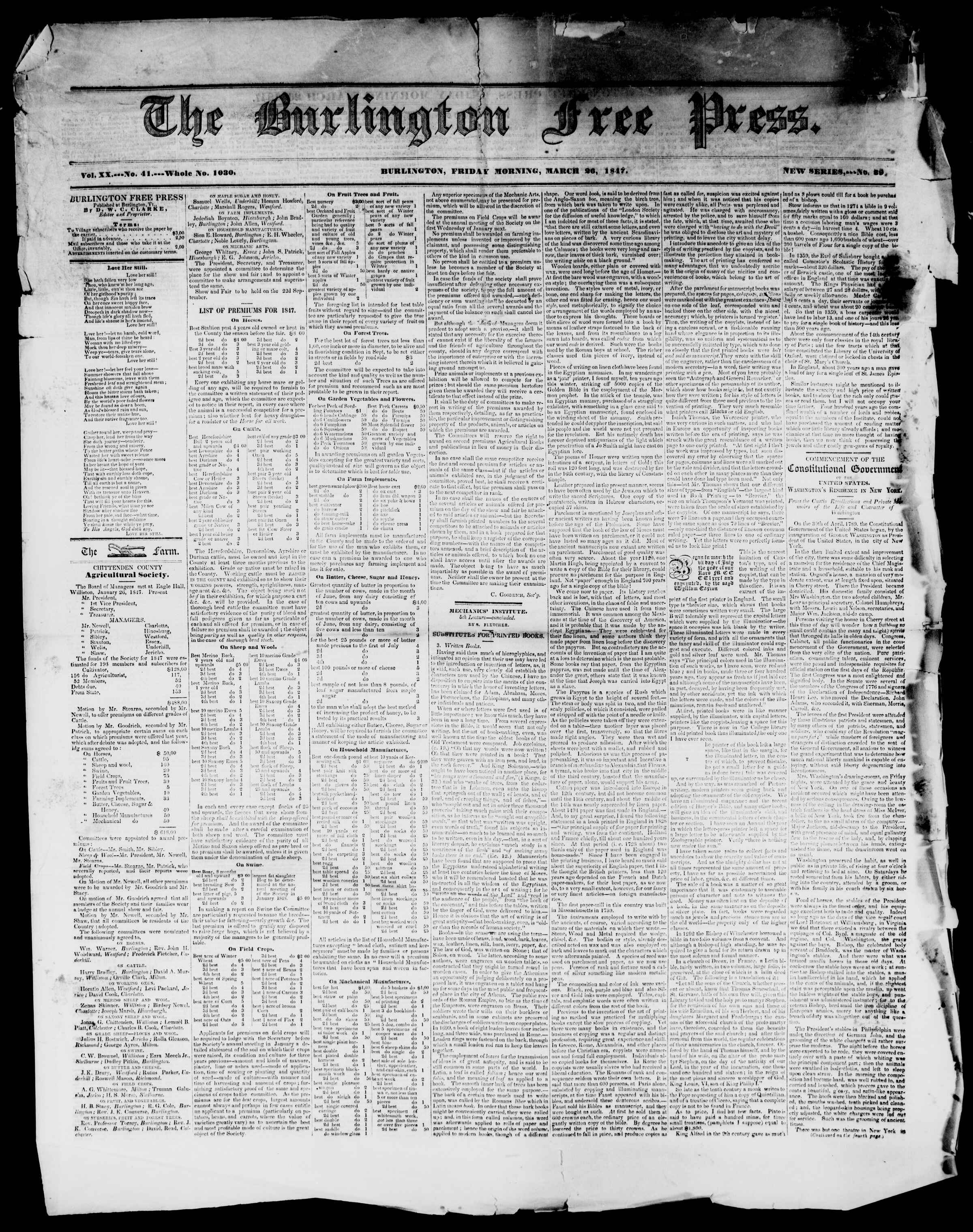 Newspaper of Burlington Free Press dated March 26, 1847 Page 1