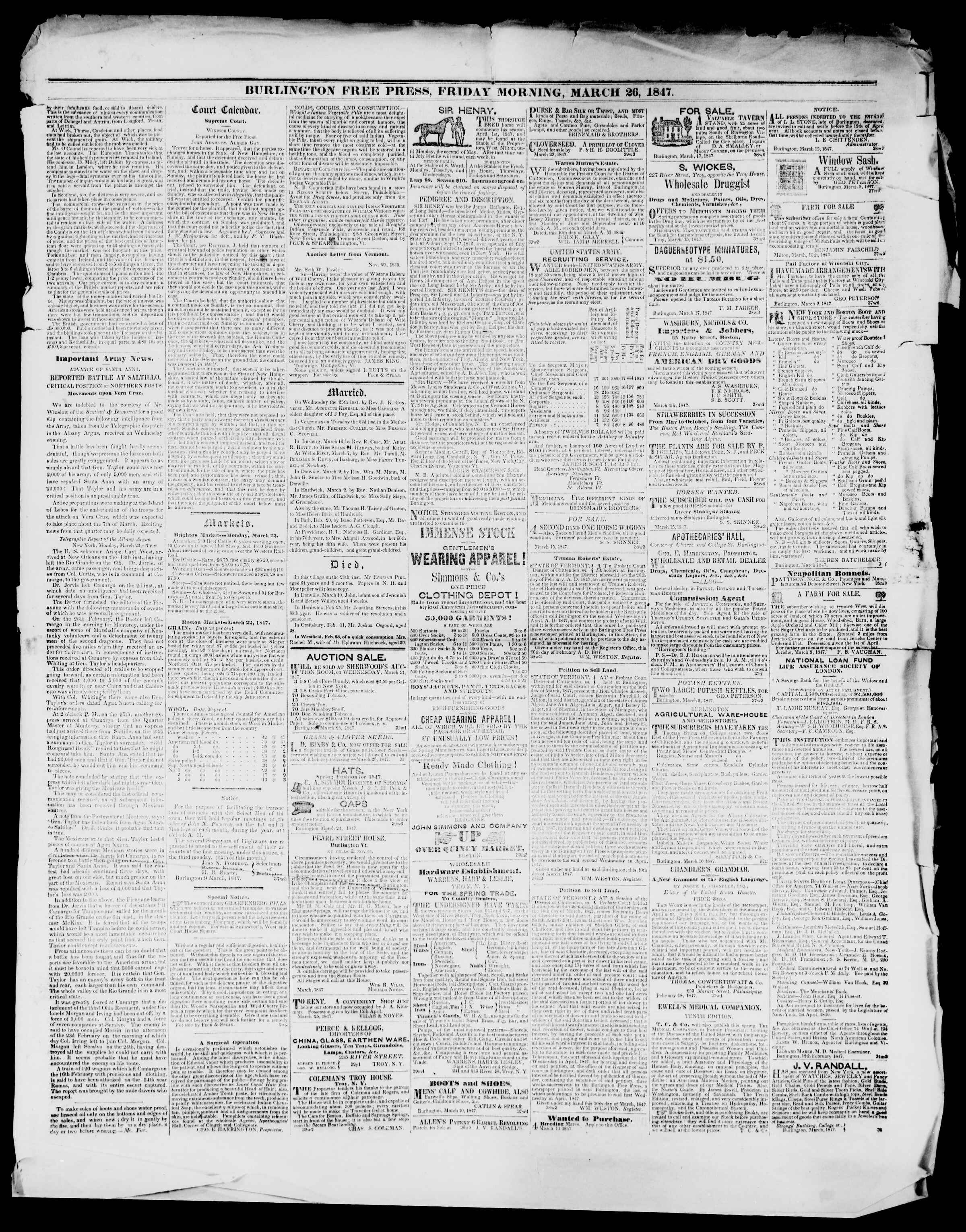 Newspaper of Burlington Free Press dated March 26, 1847 Page 3