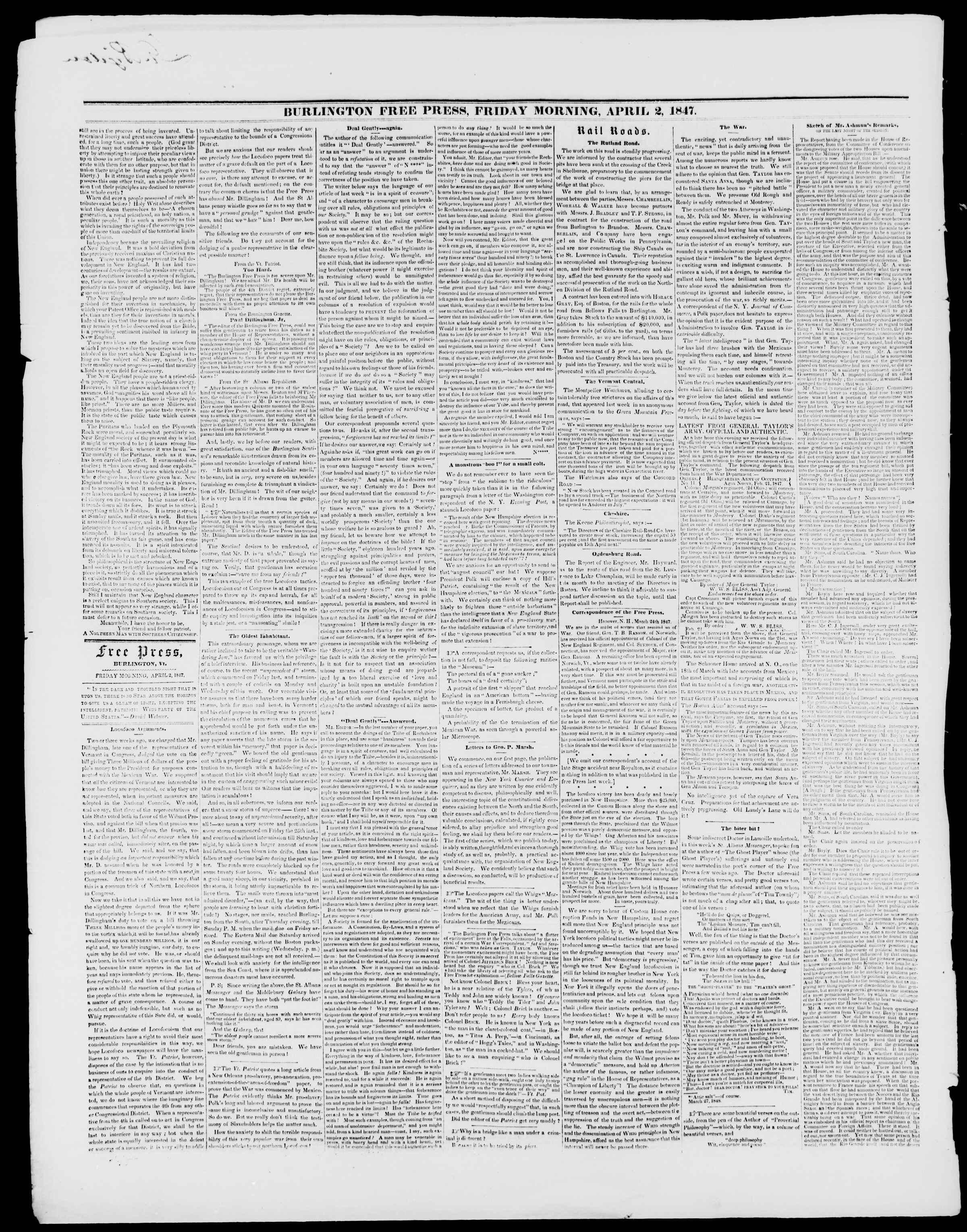 Newspaper of Burlington Free Press dated April 2, 1847 Page 2