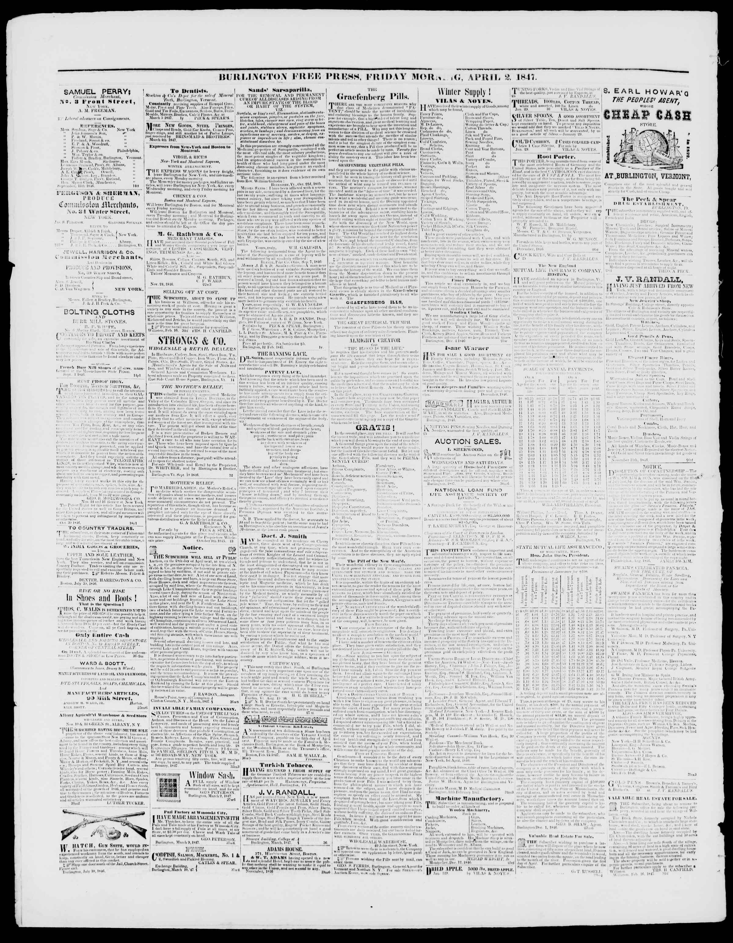 Newspaper of Burlington Free Press dated April 2, 1847 Page 4