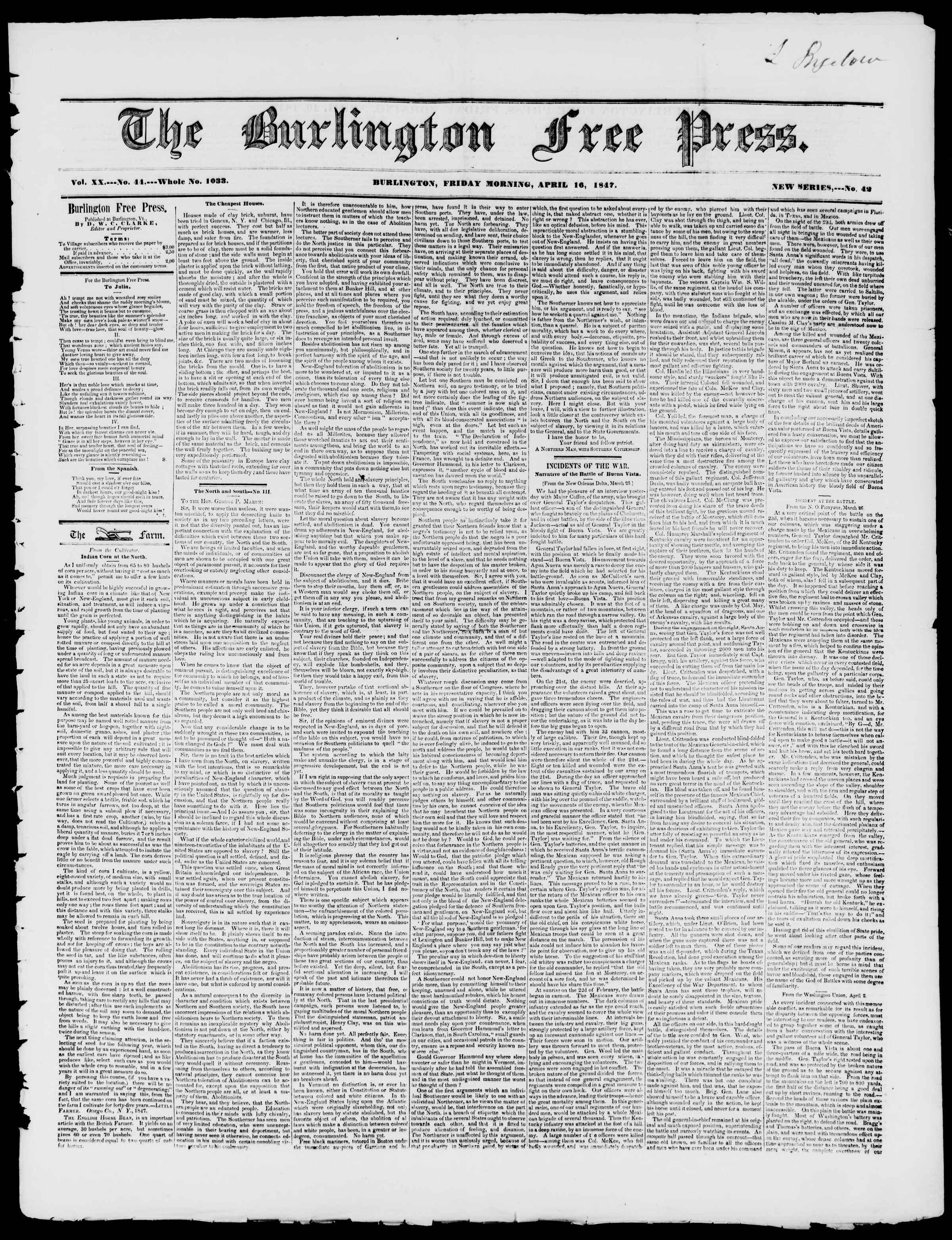 Newspaper of Burlington Free Press dated April 16, 1847 Page 1