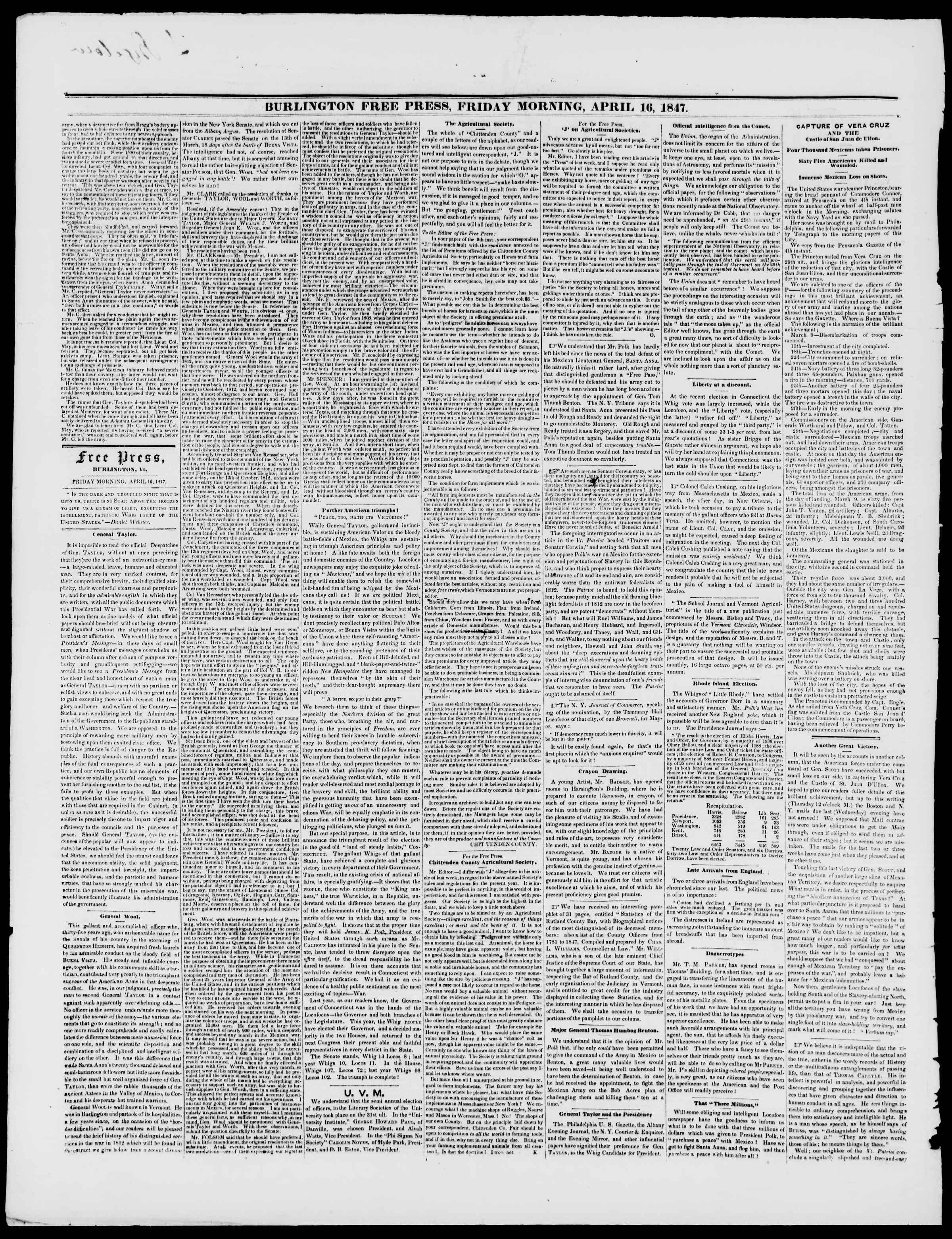 Newspaper of Burlington Free Press dated April 16, 1847 Page 2