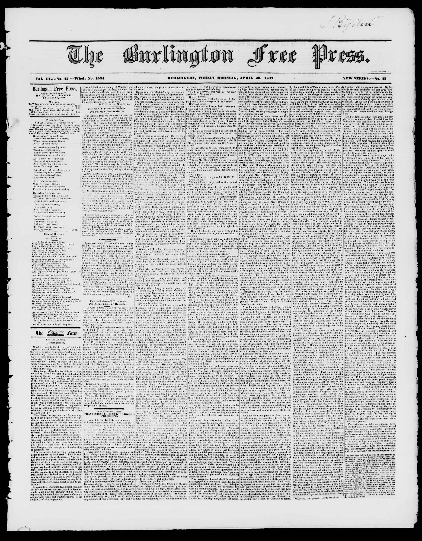 Newspaper of Burlington Free Press dated April 23, 1847 Page 1