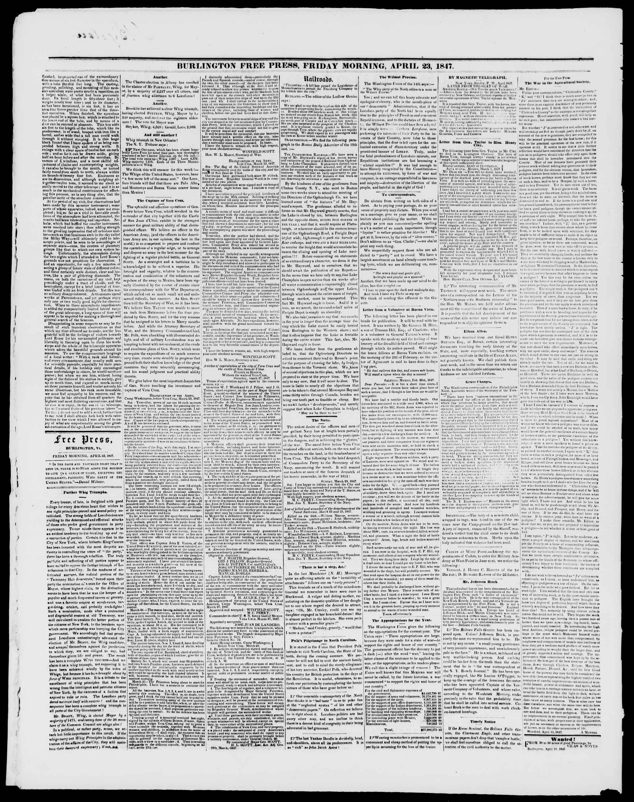 Newspaper of Burlington Free Press dated April 23, 1847 Page 2