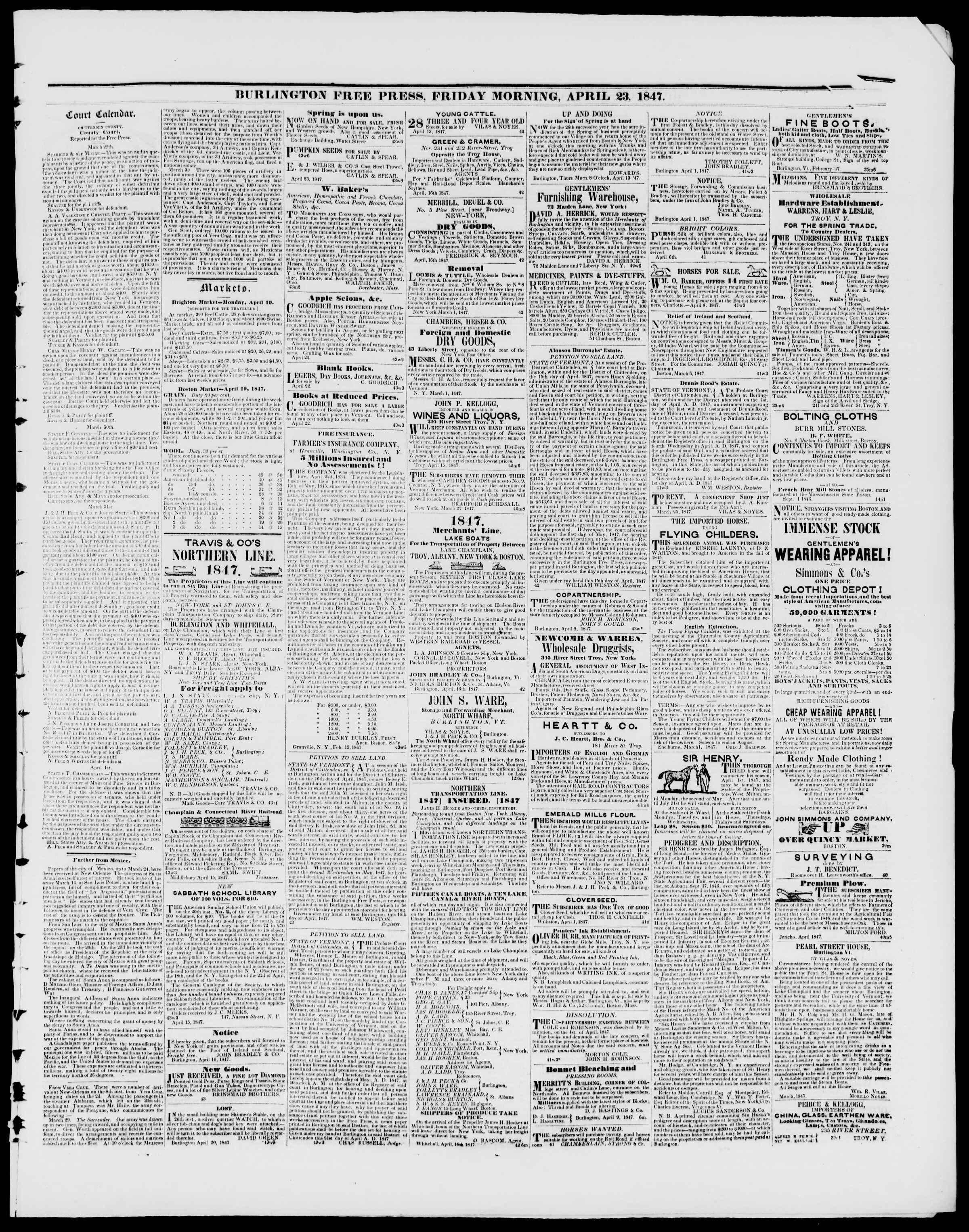 Newspaper of Burlington Free Press dated April 23, 1847 Page 3