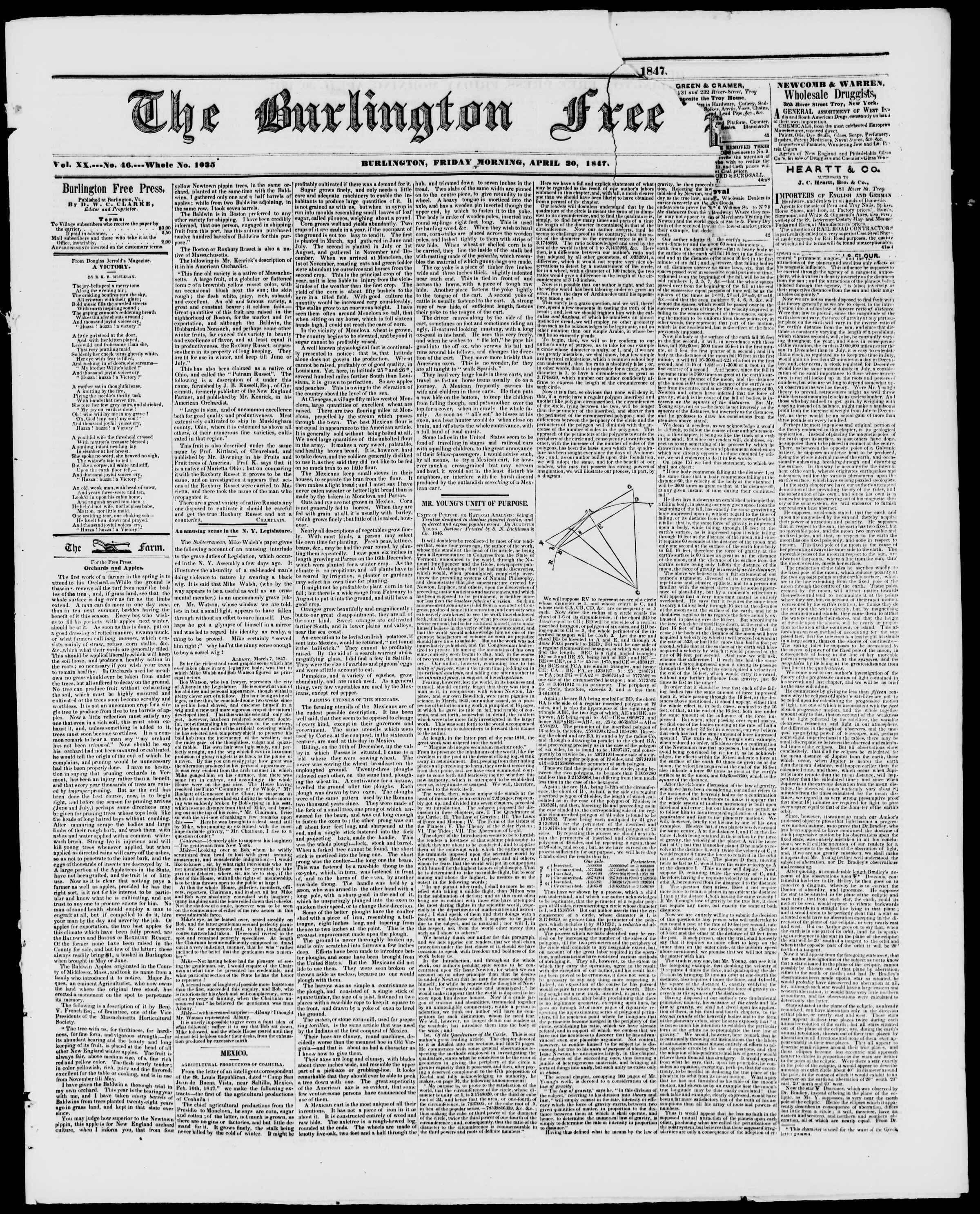 Newspaper of Burlington Free Press dated April 30, 1847 Page 1