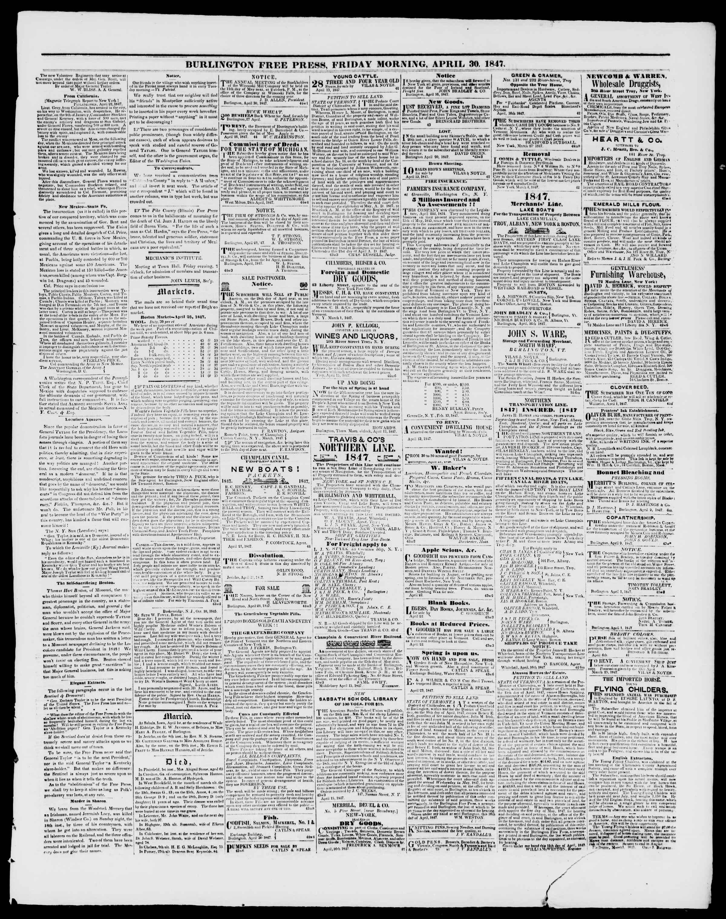 Newspaper of Burlington Free Press dated April 30, 1847 Page 3