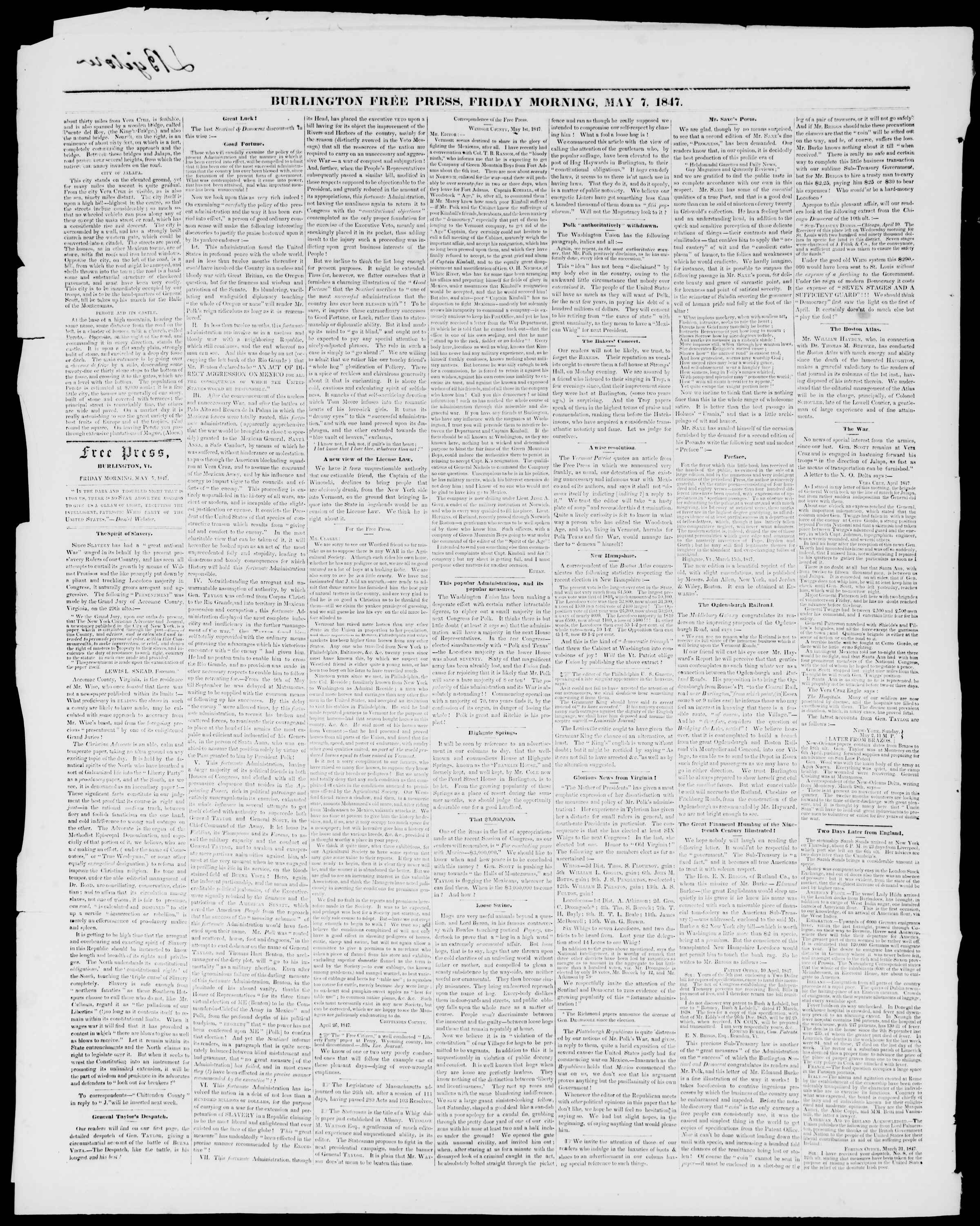 Newspaper of Burlington Free Press dated May 7, 1847 Page 2