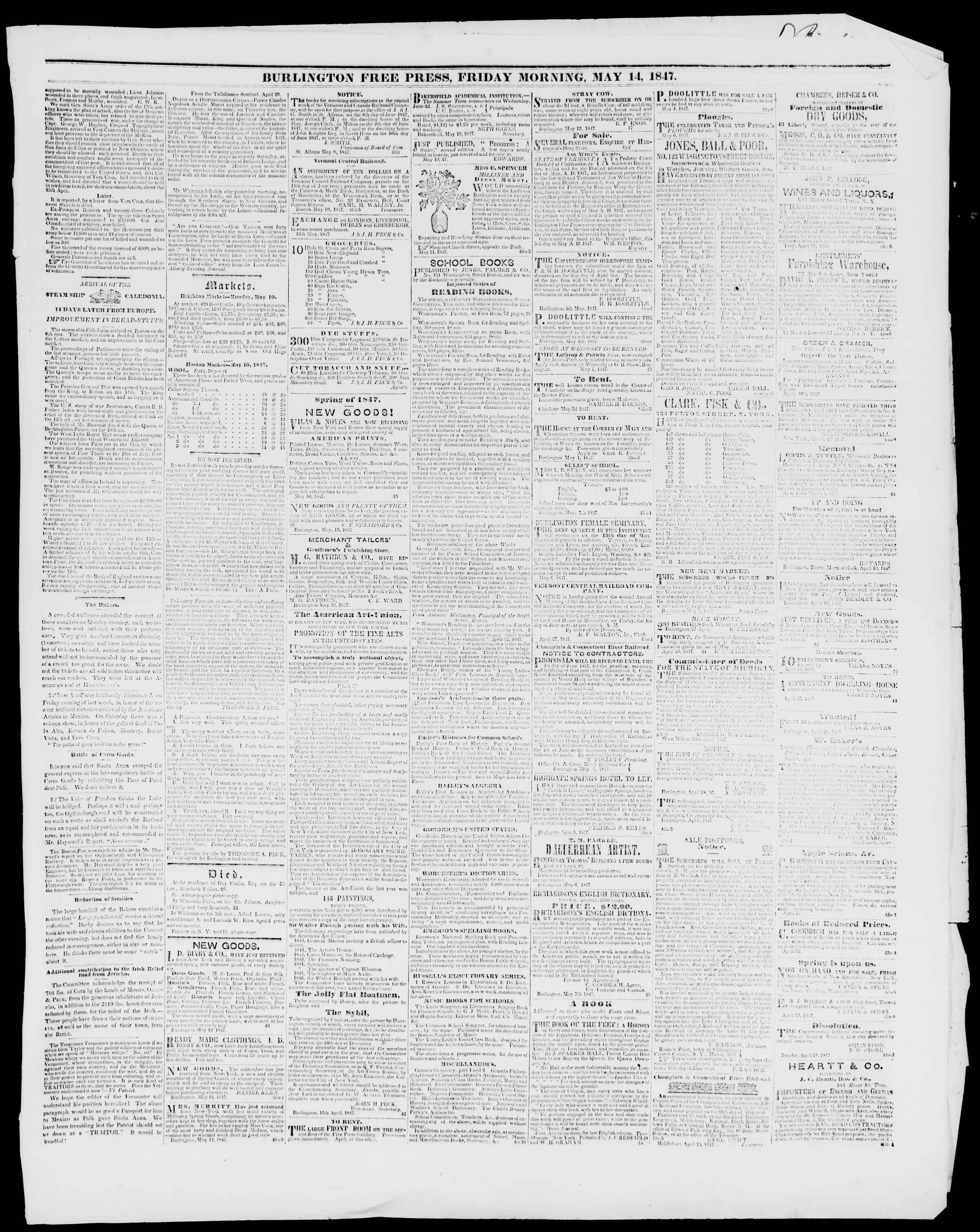 Newspaper of Burlington Free Press dated May 14, 1847 Page 3