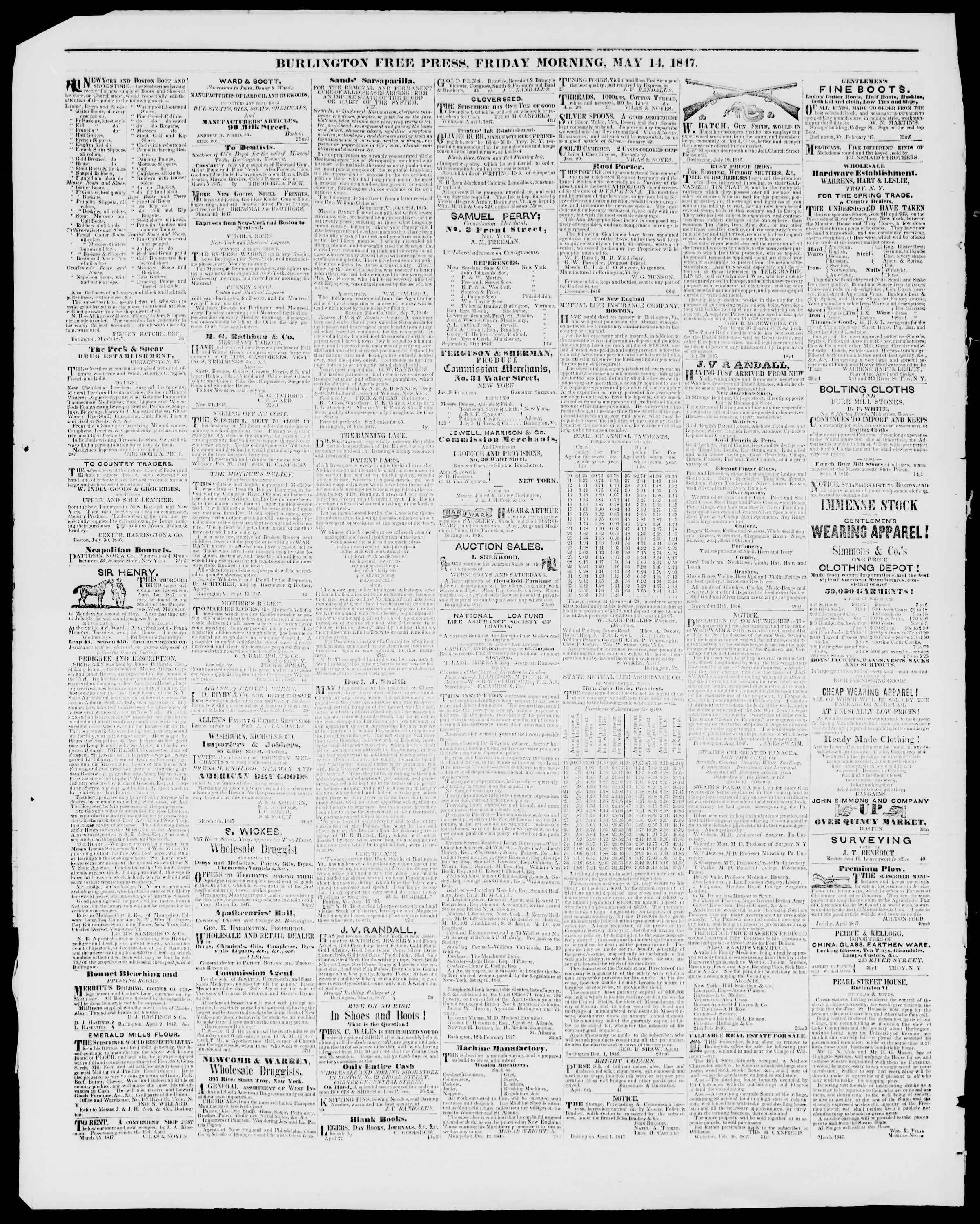 Newspaper of Burlington Free Press dated May 14, 1847 Page 4