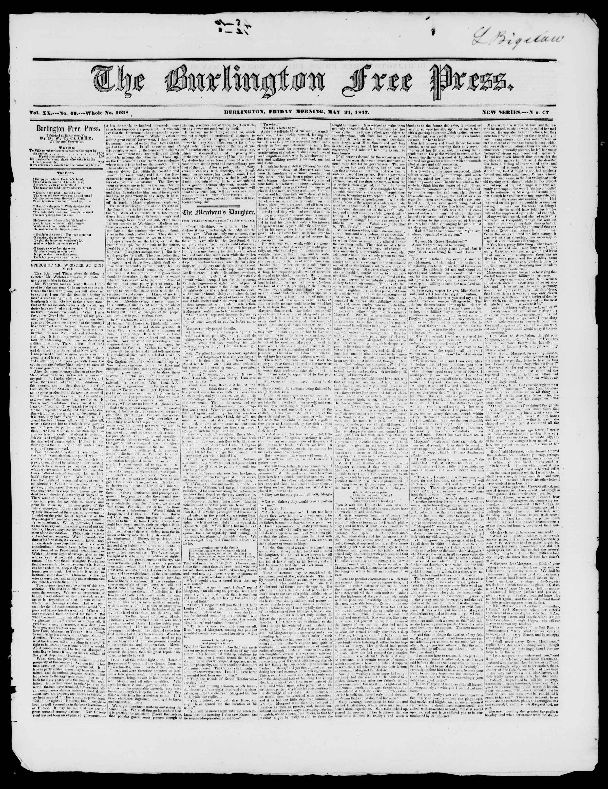 Newspaper of Burlington Free Press dated May 21, 1847 Page 1