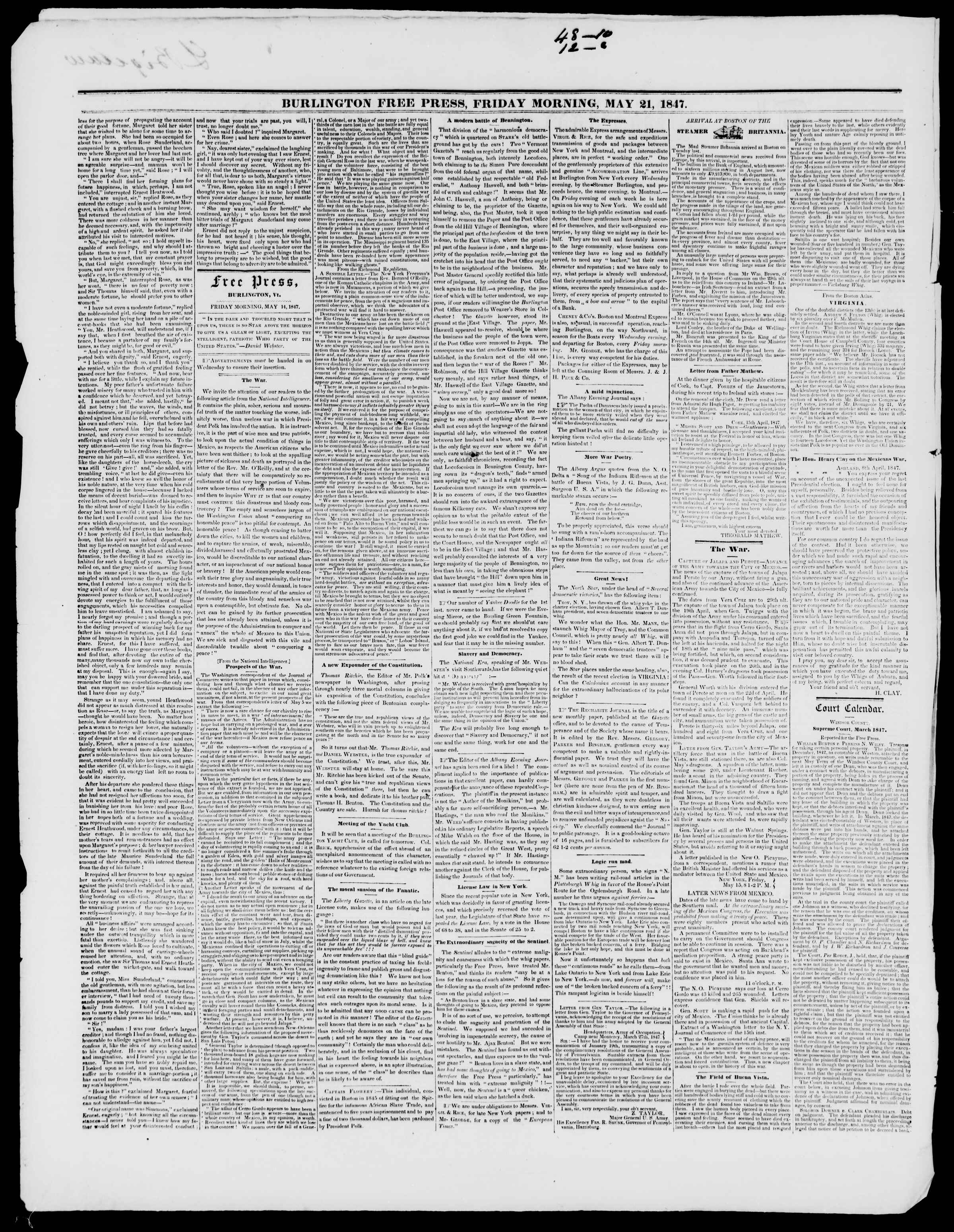 Newspaper of Burlington Free Press dated May 21, 1847 Page 2