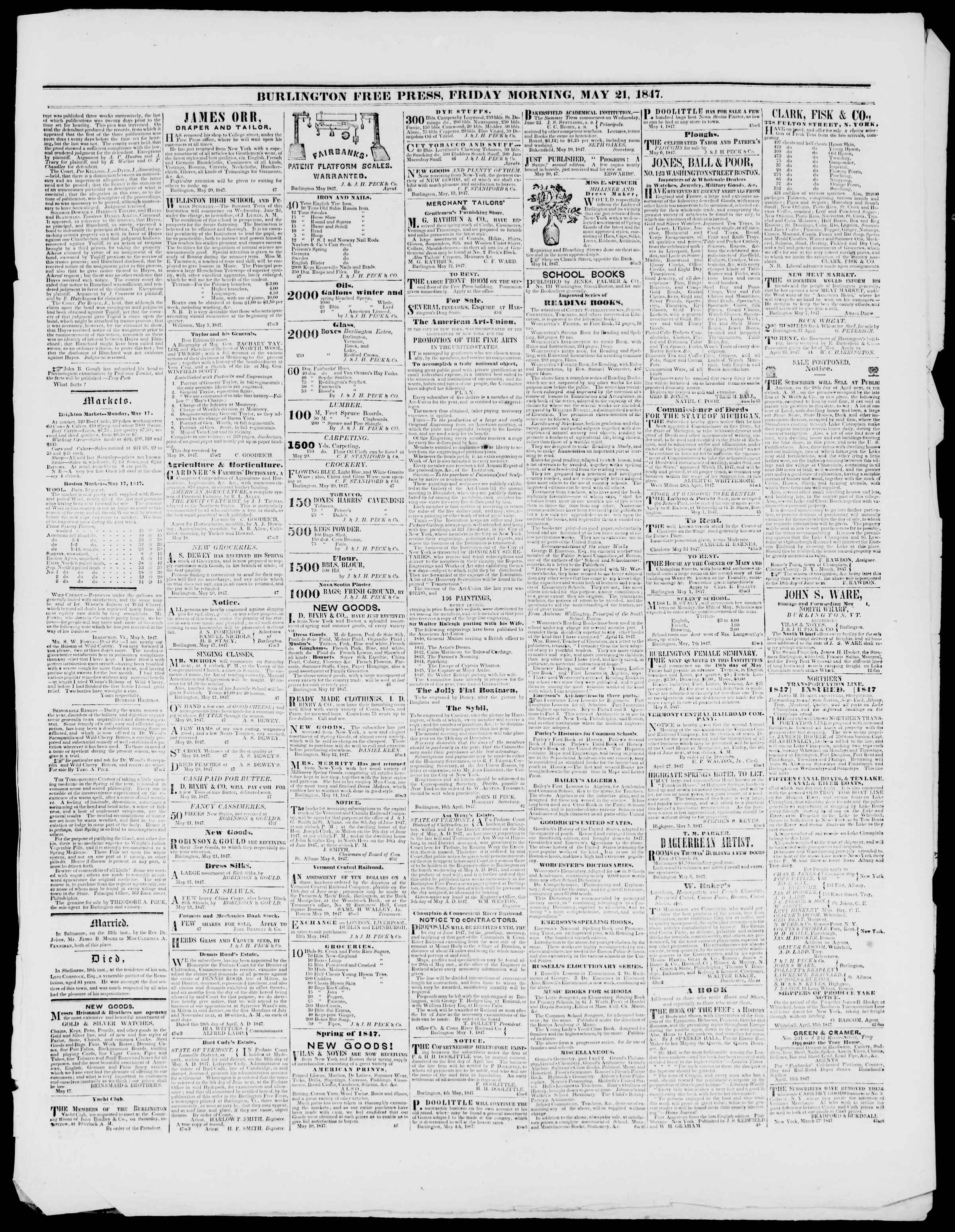 Newspaper of Burlington Free Press dated May 21, 1847 Page 3