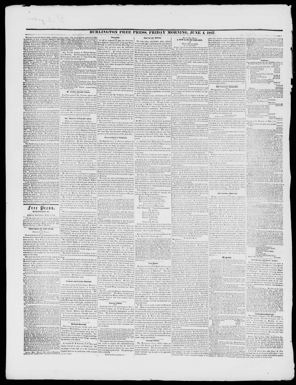 Newspaper of Burlington Free Press dated 4 Haziran 1847 Page 2