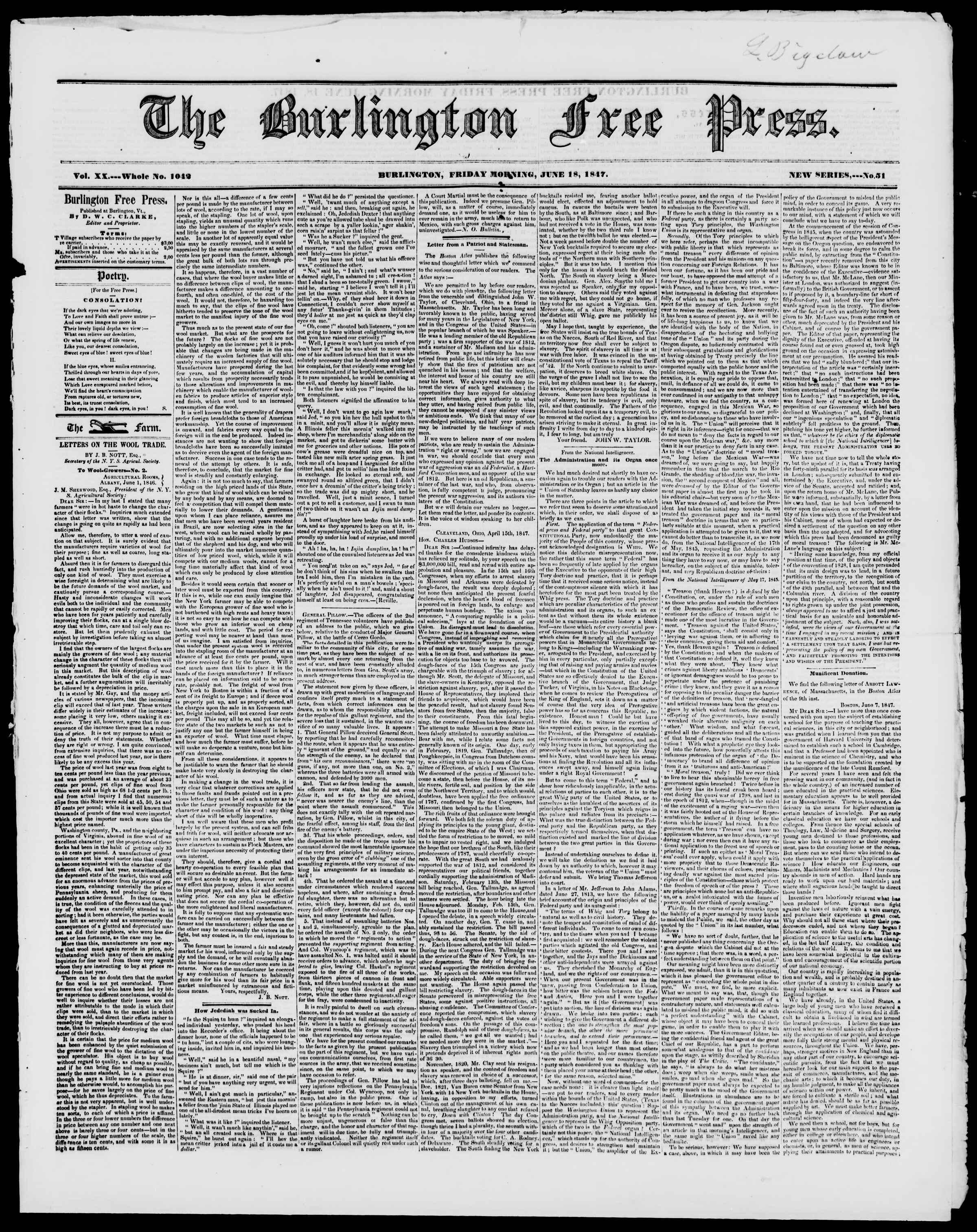 Newspaper of Burlington Free Press dated June 18, 1847 Page 1
