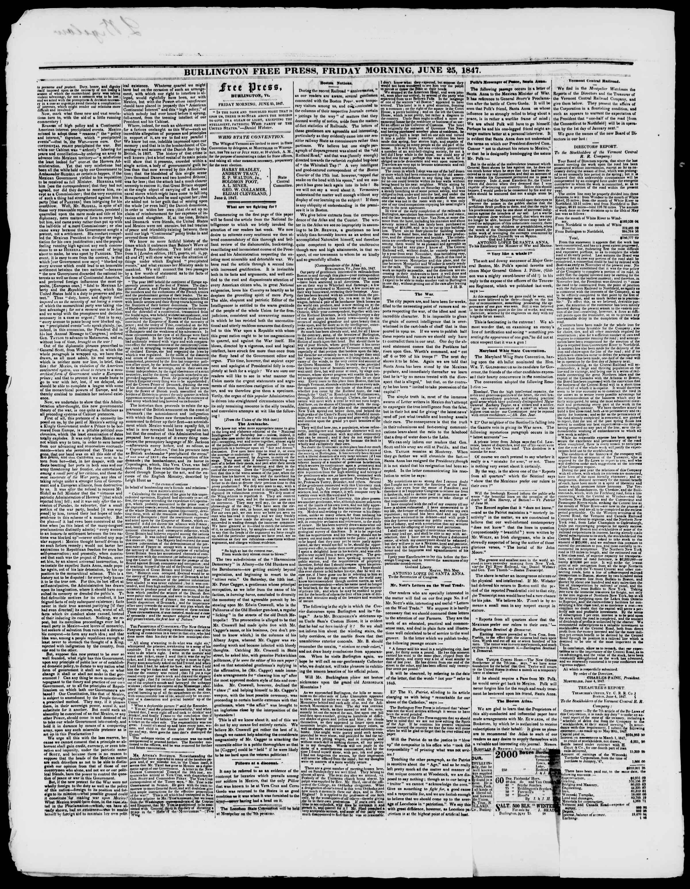 Newspaper of Burlington Free Press dated June 25, 1847 Page 2