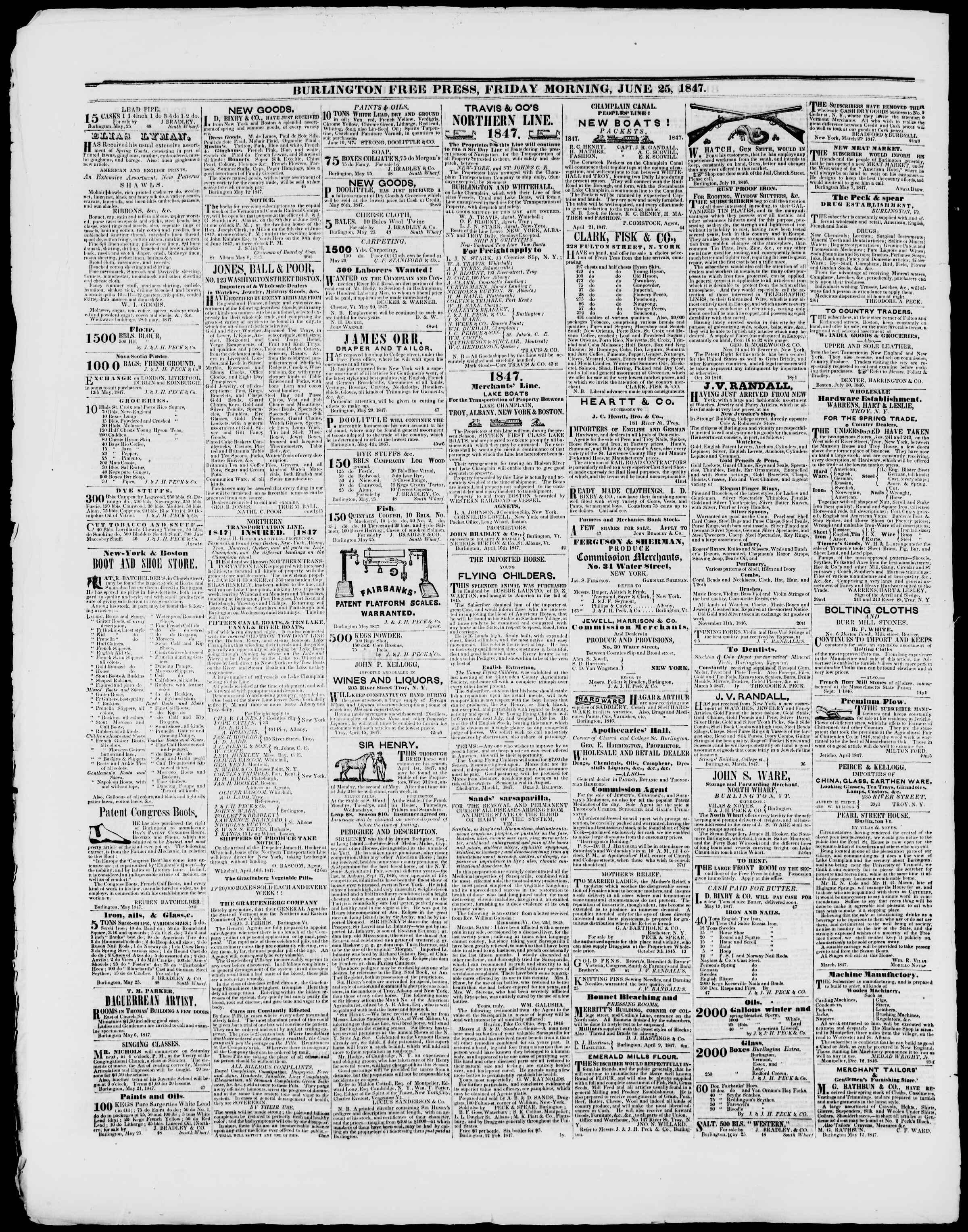 Newspaper of Burlington Free Press dated June 25, 1847 Page 4