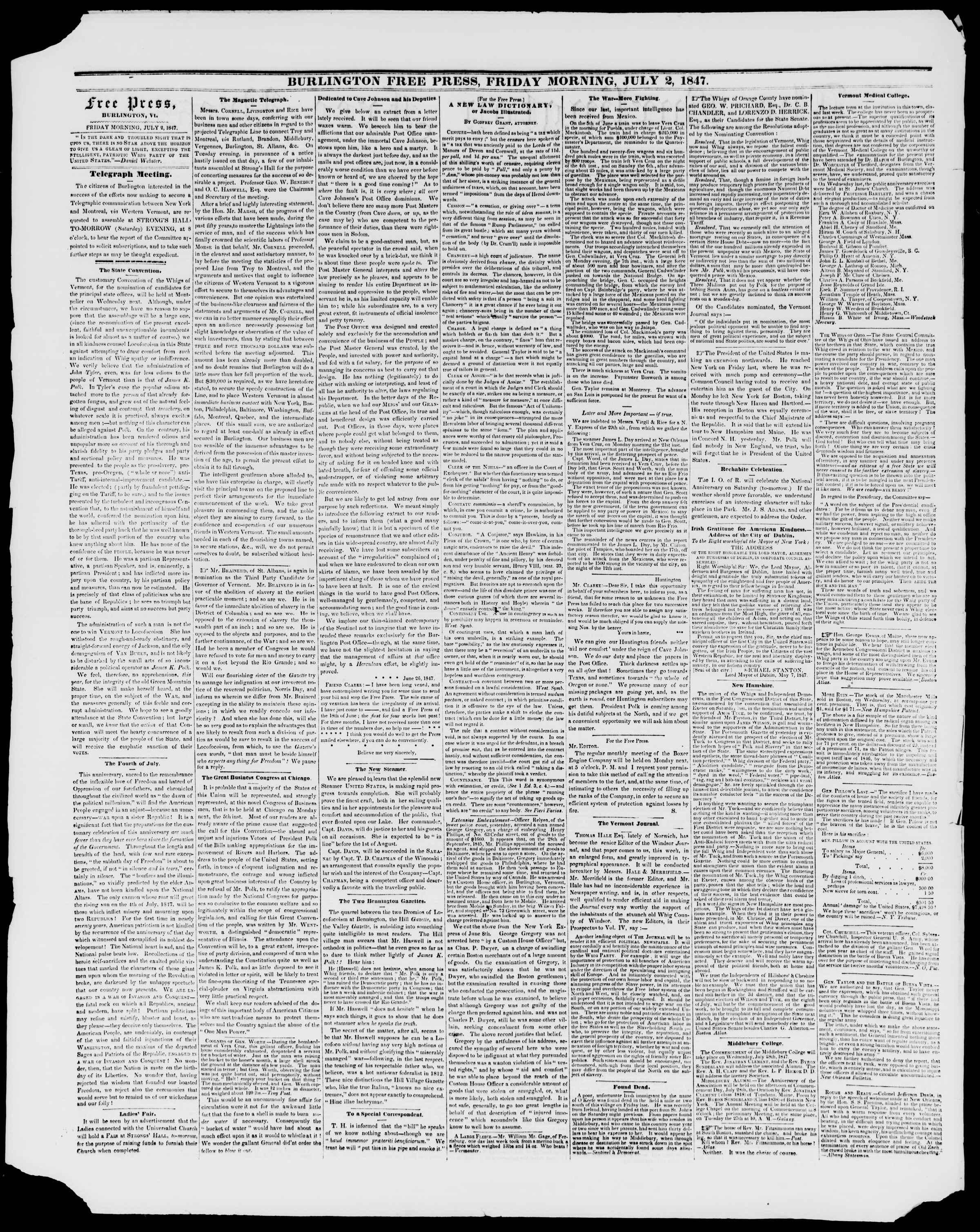 Newspaper of Burlington Free Press dated July 2, 1847 Page 2