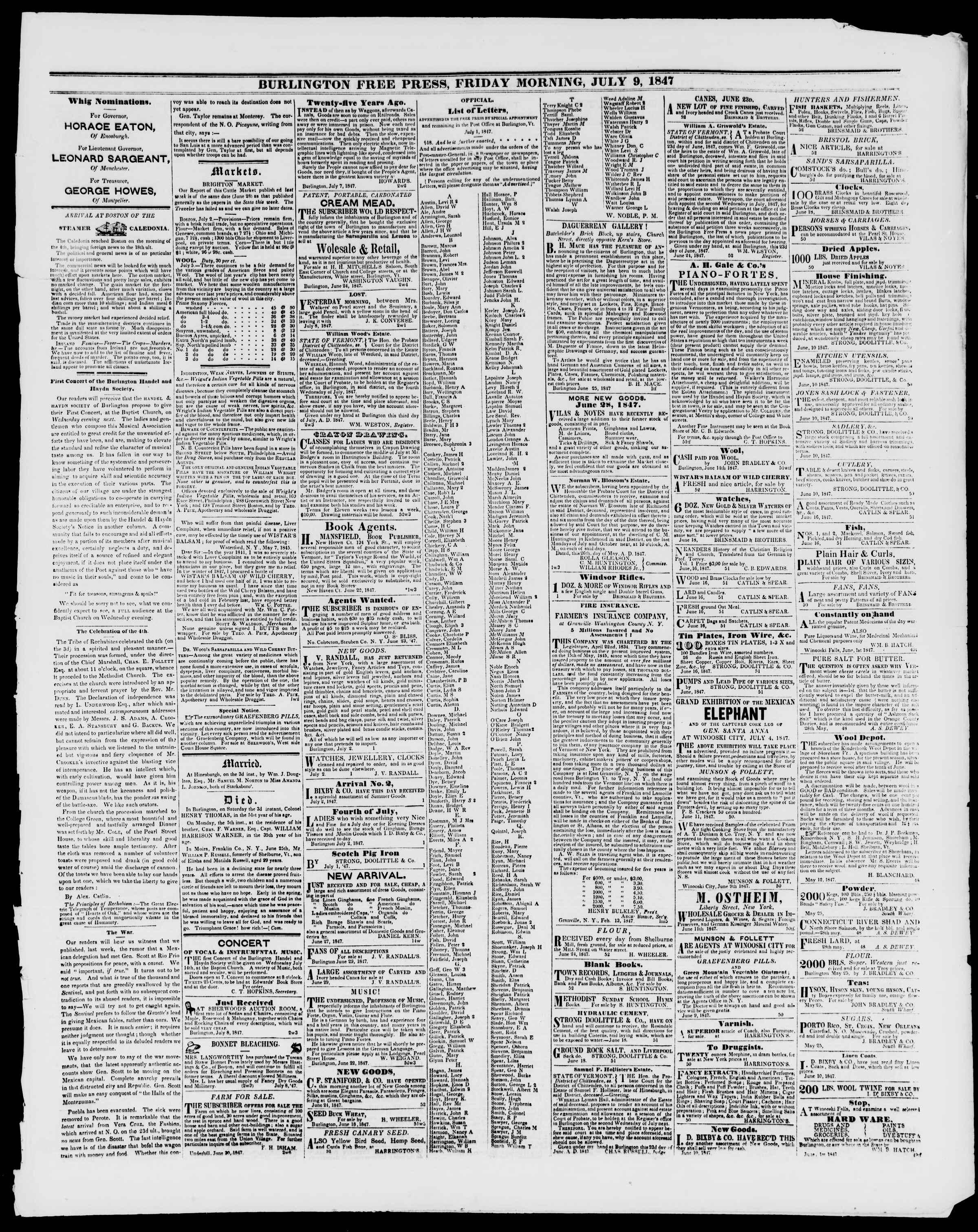 Newspaper of Burlington Free Press dated July 9, 1847 Page 3