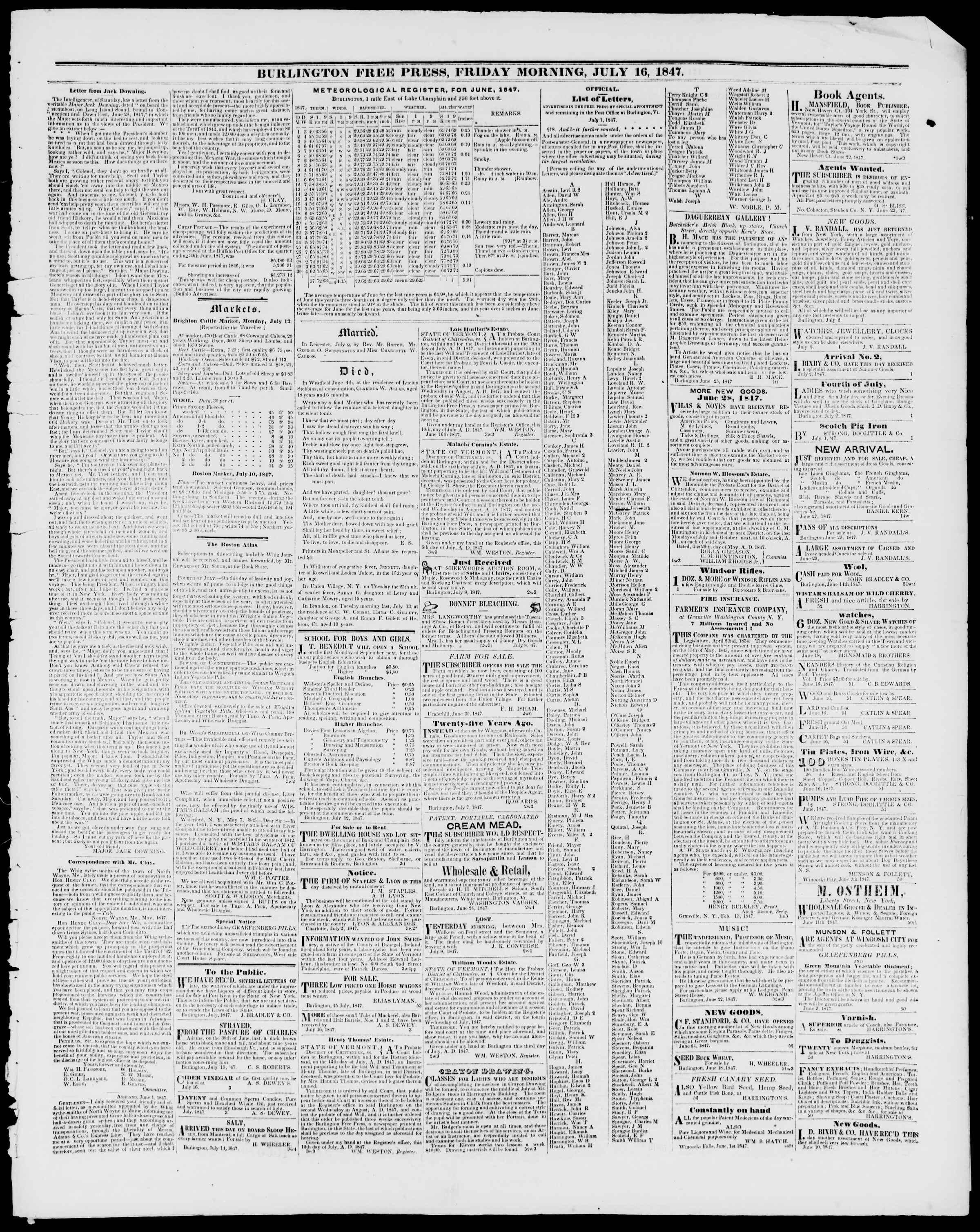 Newspaper of Burlington Free Press dated 16 Temmuz 1847 Page 3